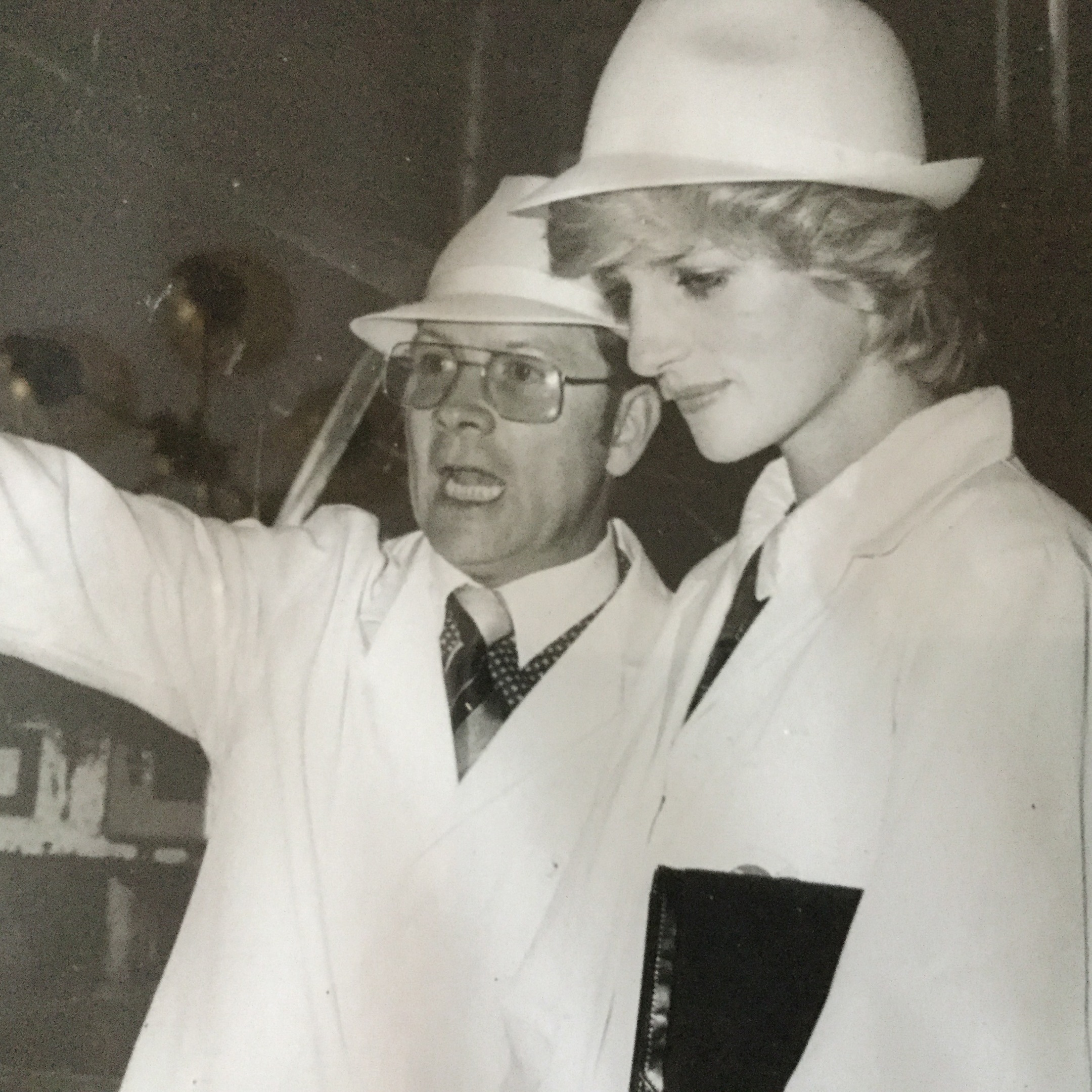Princess Diana with Derek Shaw on a visit to Keiller Factory in 1983