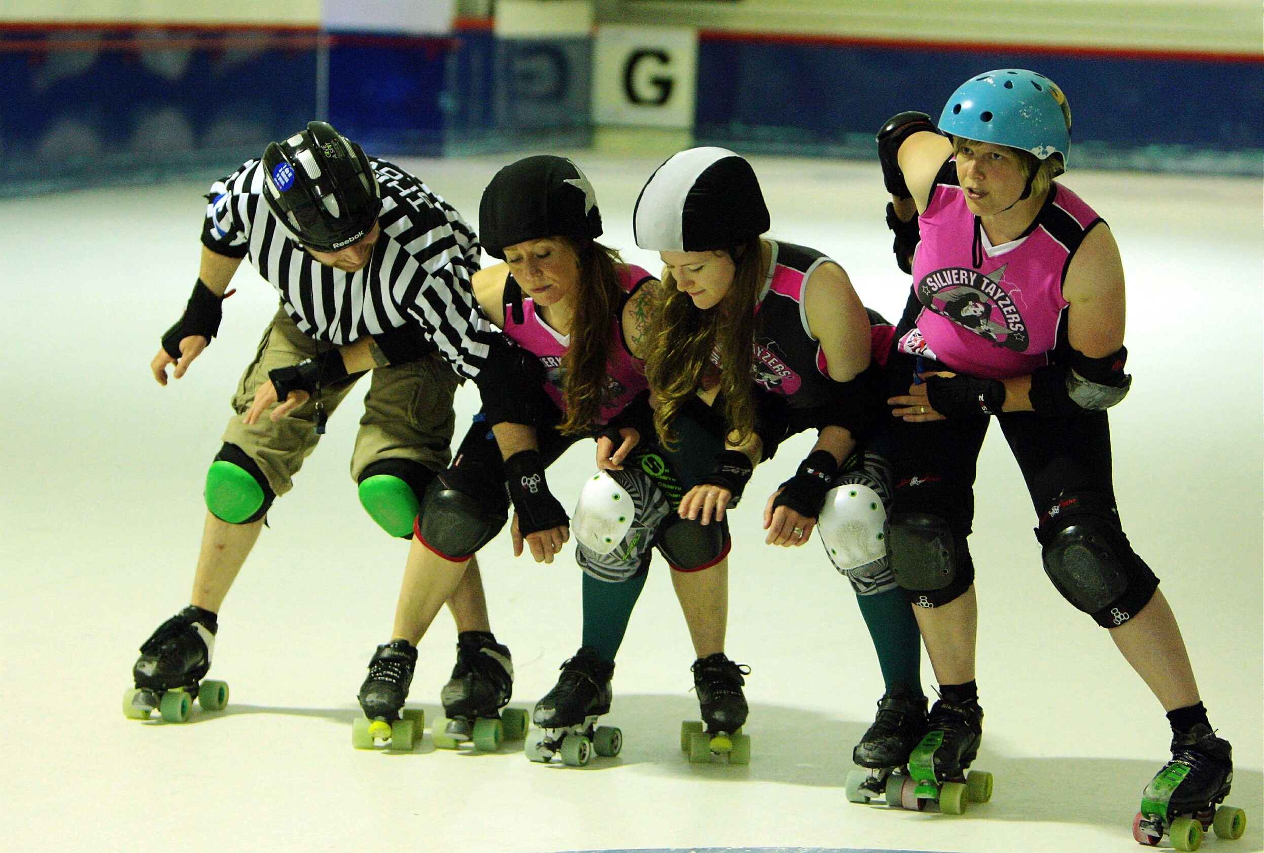 The Dundee Roller Girls in action.