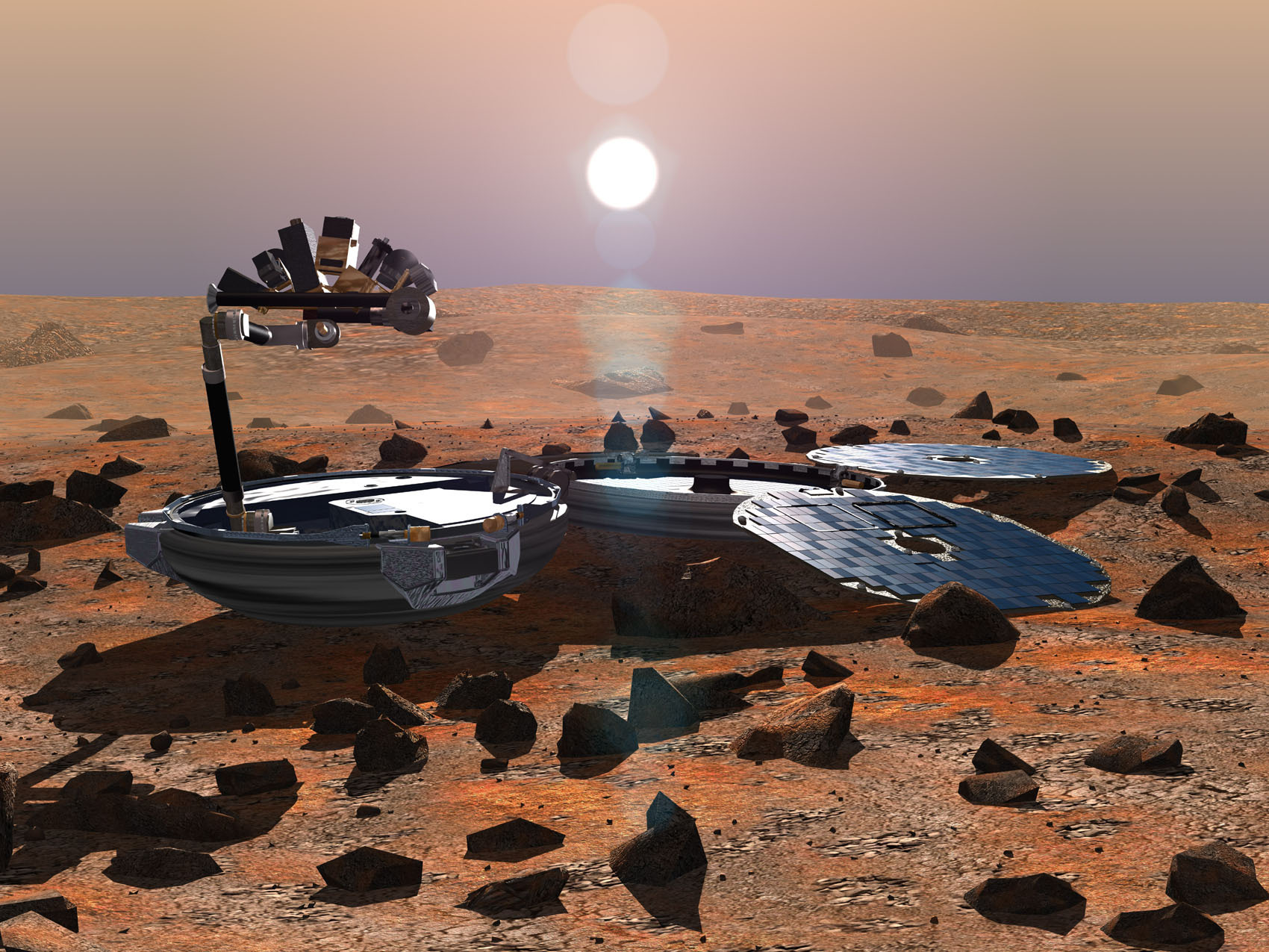 A 2002 impression of how the Beagle 2 landing craft might have looked once landed on Mars.