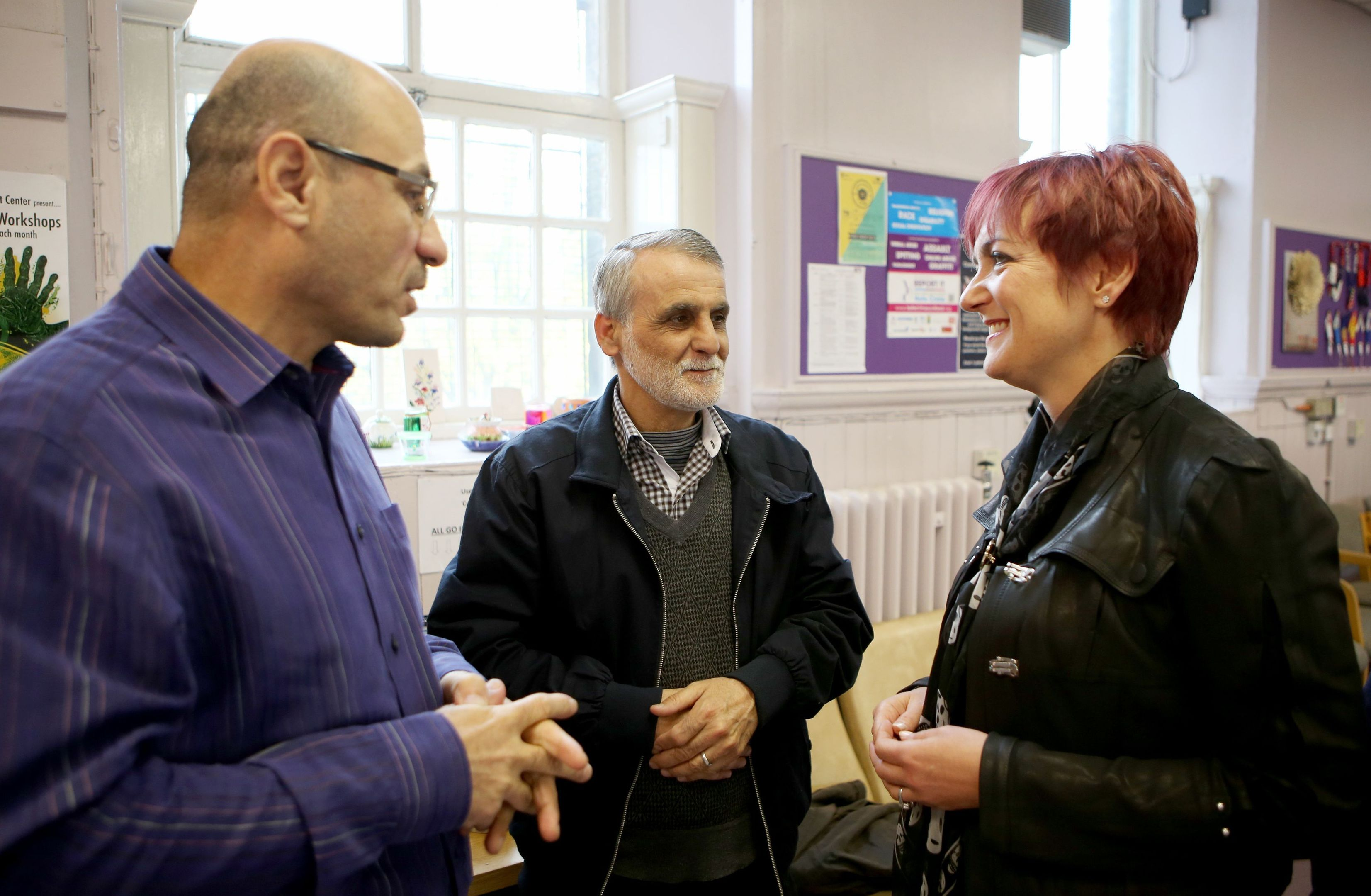 Equalities Secretary Angela Constance (right) meets refugees who have been welcomed into Scottish communities at the Maryhill Integration Network in Glasgow.