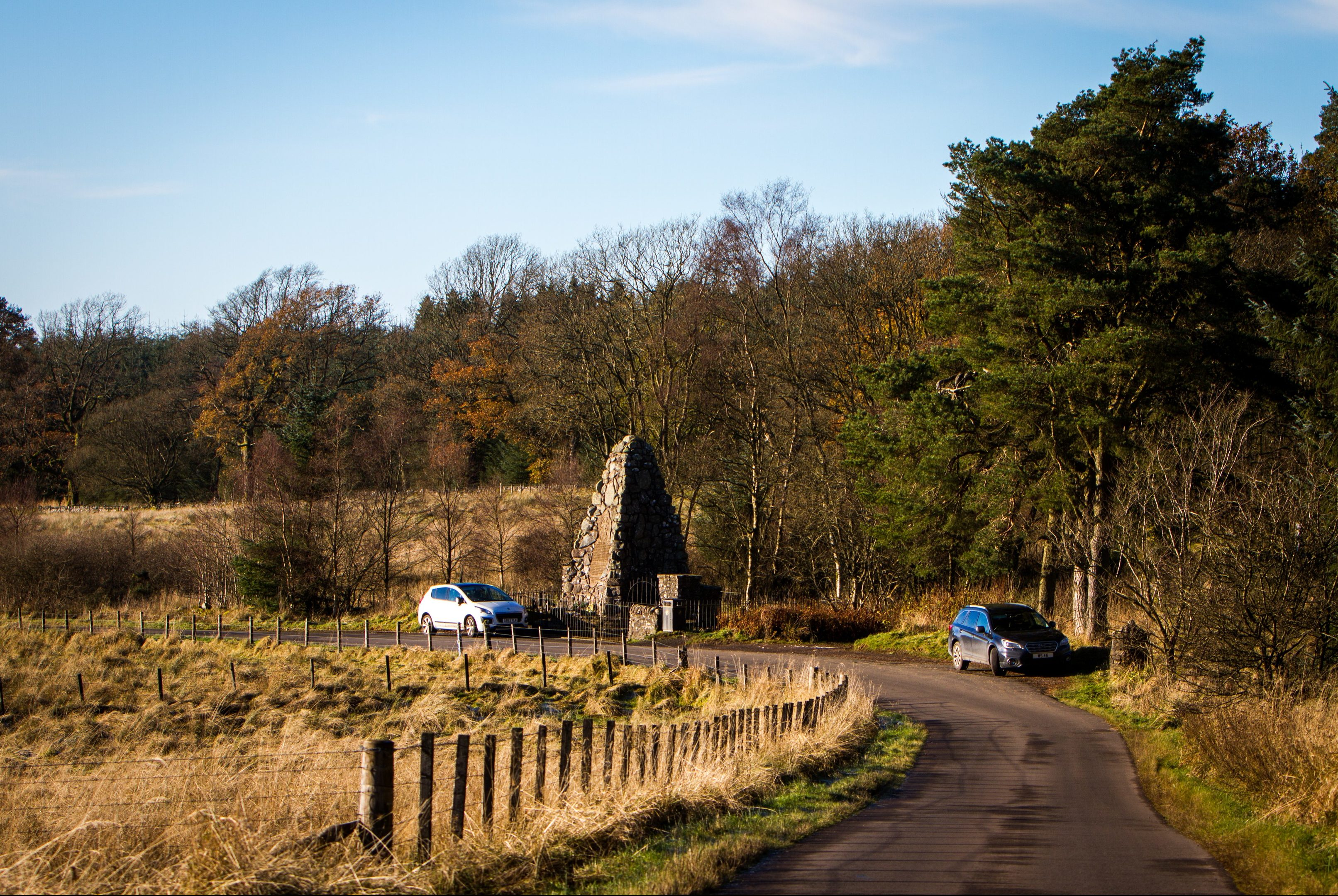Picture shows Battle of Sheriffmuir memorial (Monument to Clan MacRae) on the site of the Battle of Sheriffmuir.
