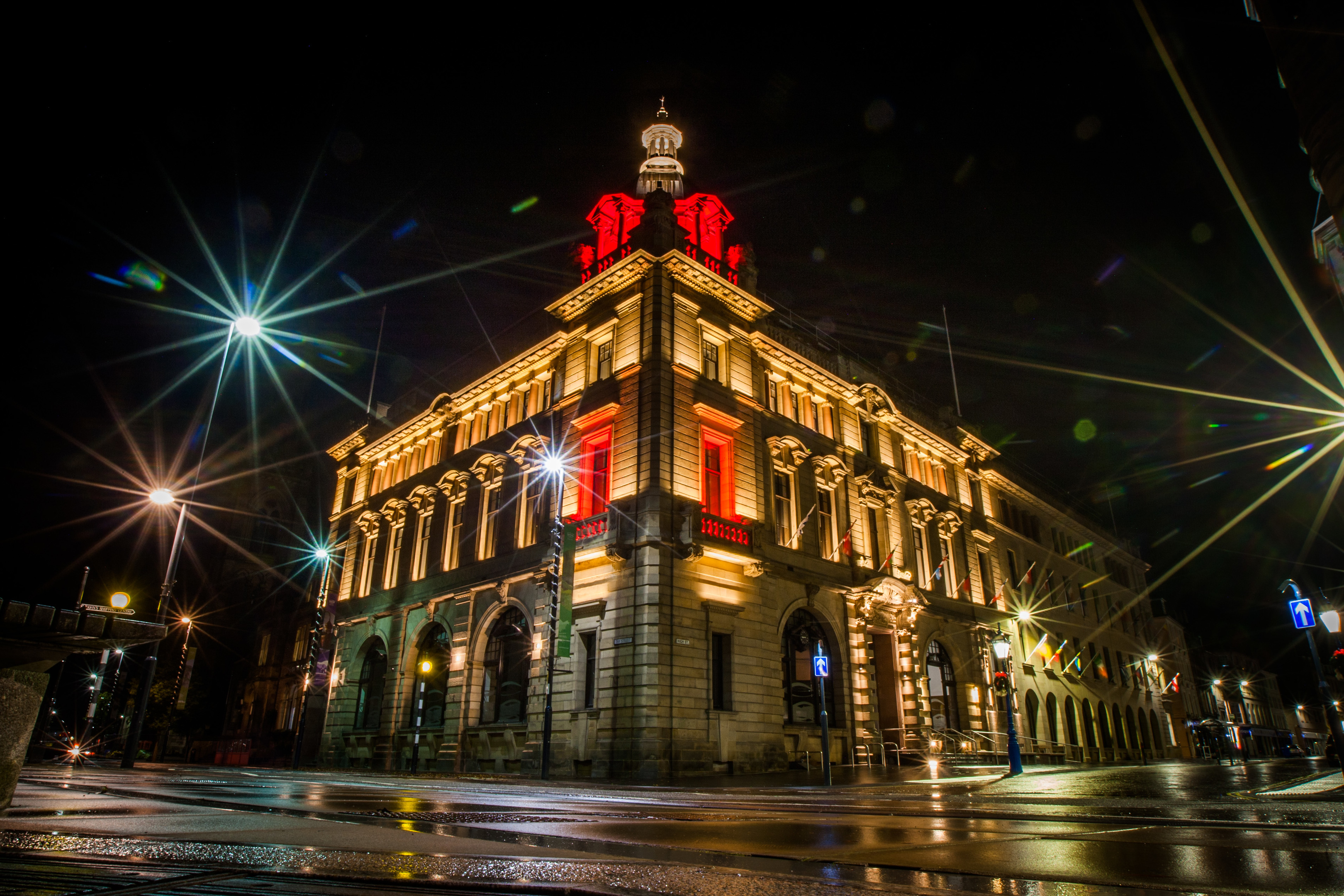 The council building at 2 High Street can now be lit up at night