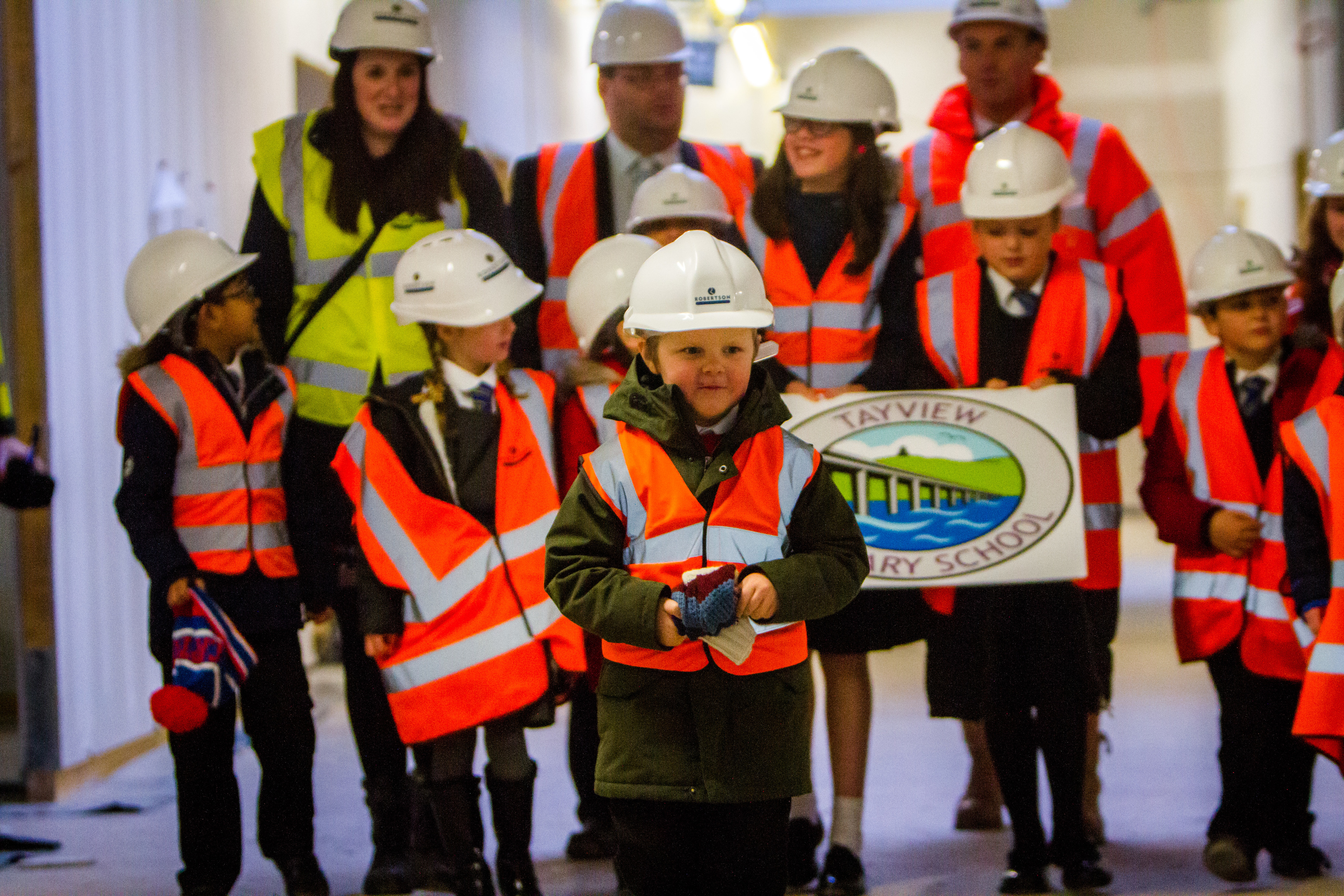 Pupils from the two Tayview School campuses were given a tour of the new site