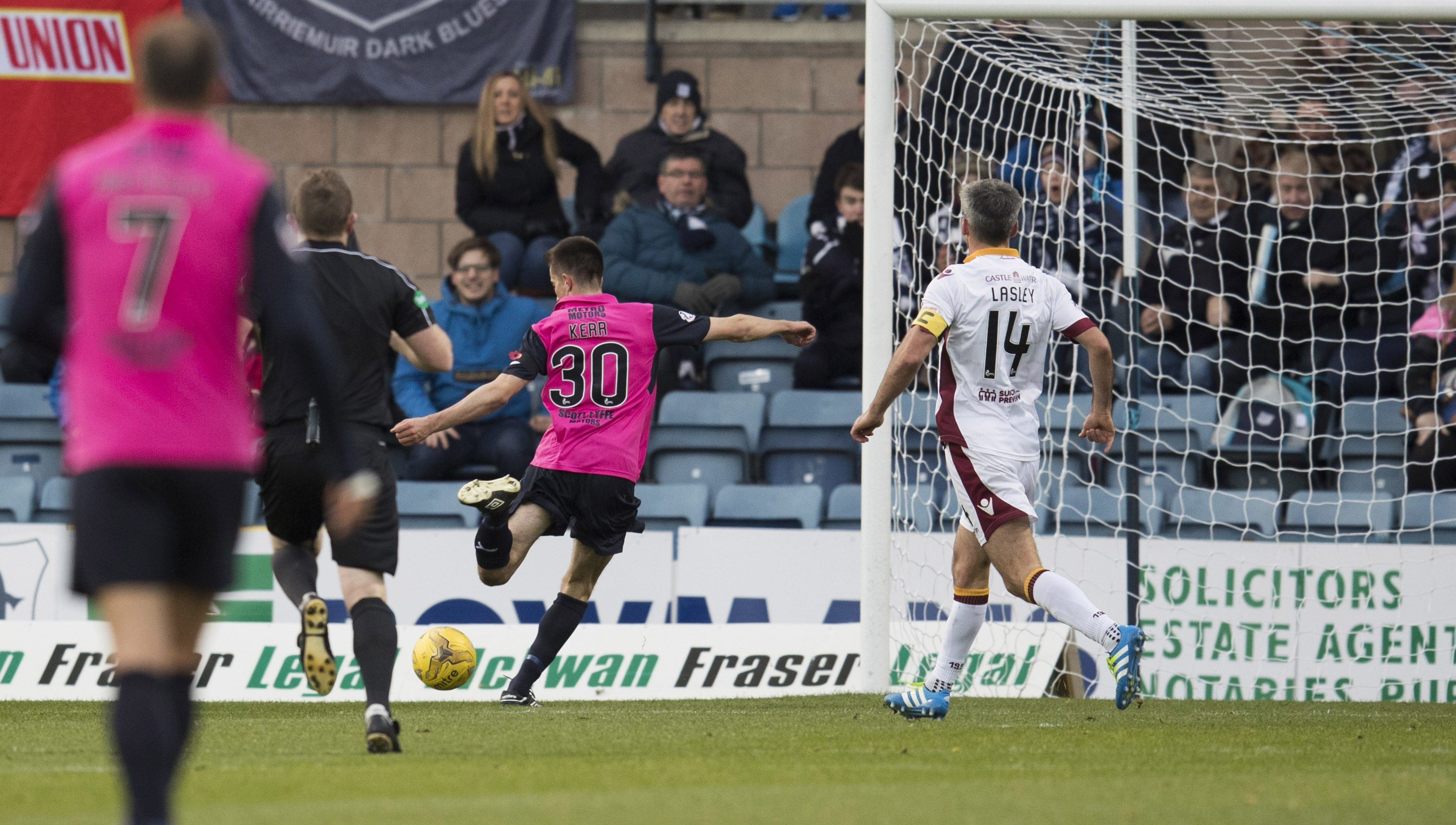Cammy Kerr opens the scoring for Dundee.