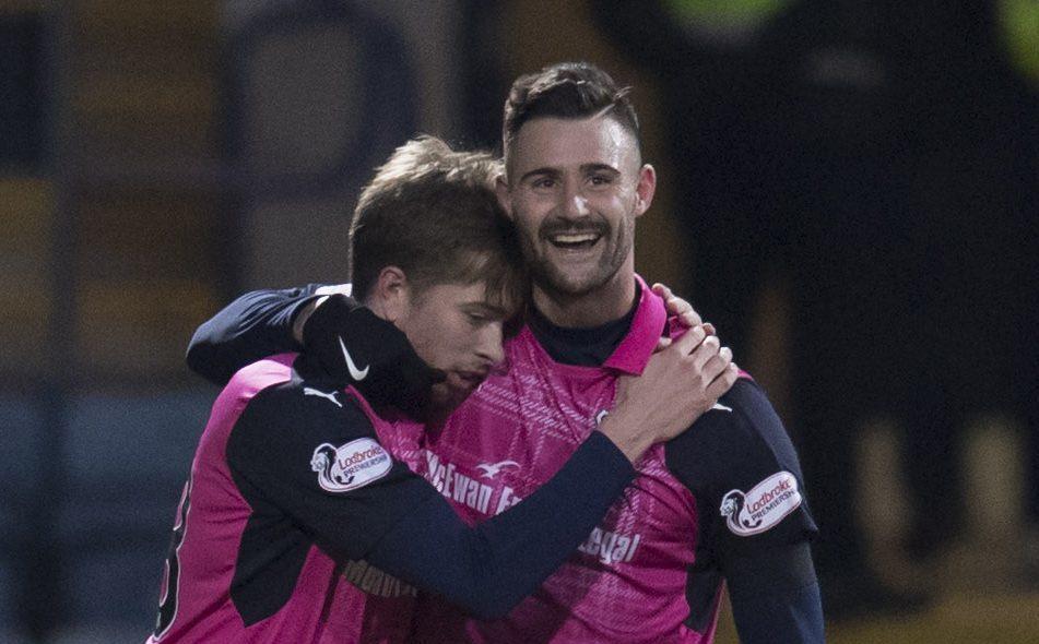 Marcus Haber, right, celebrates his goal with Craig Wighton.