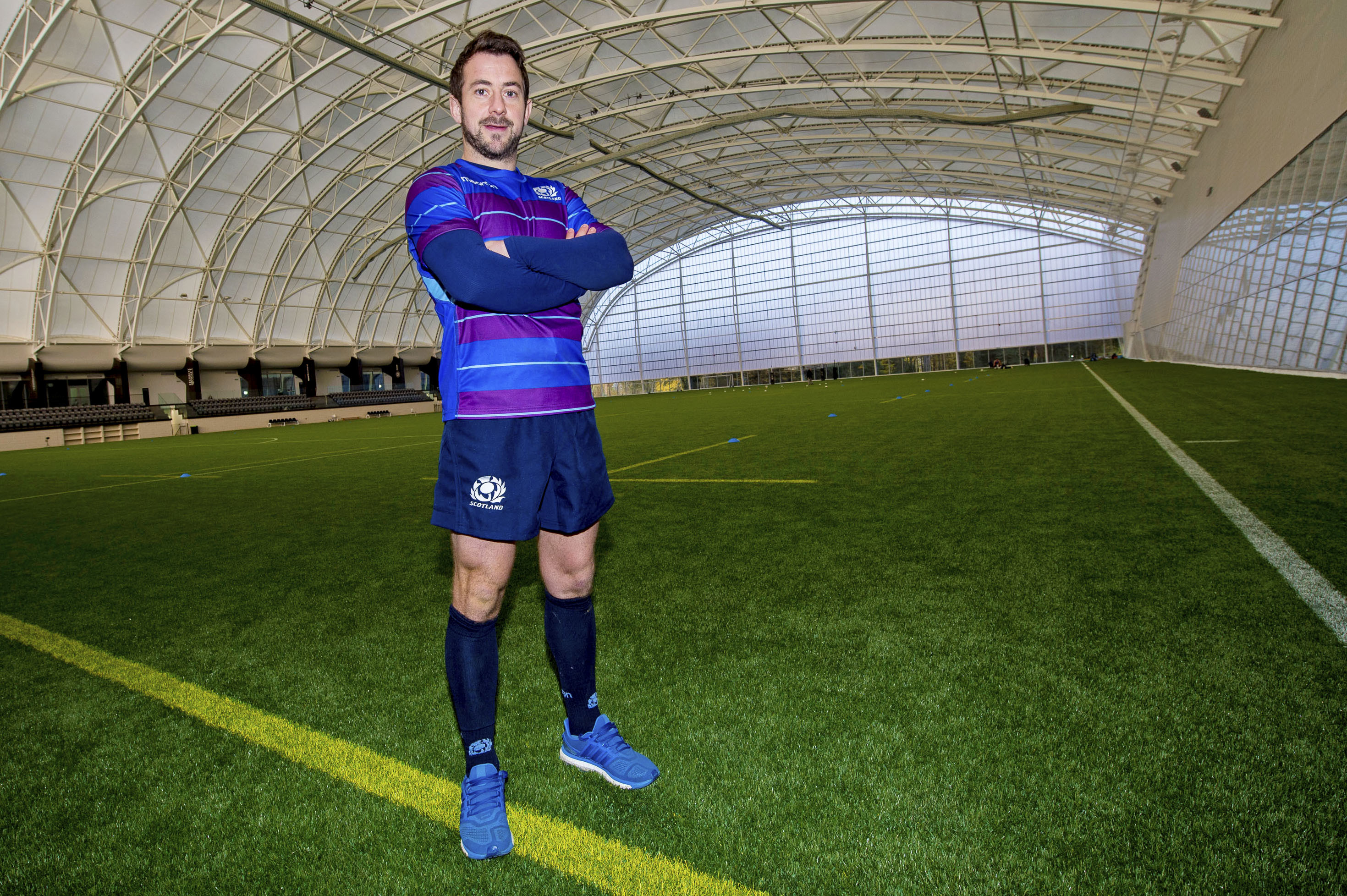 Greig Laidlaw at the full size indoor pitch where Scotland have been training at Oriam.