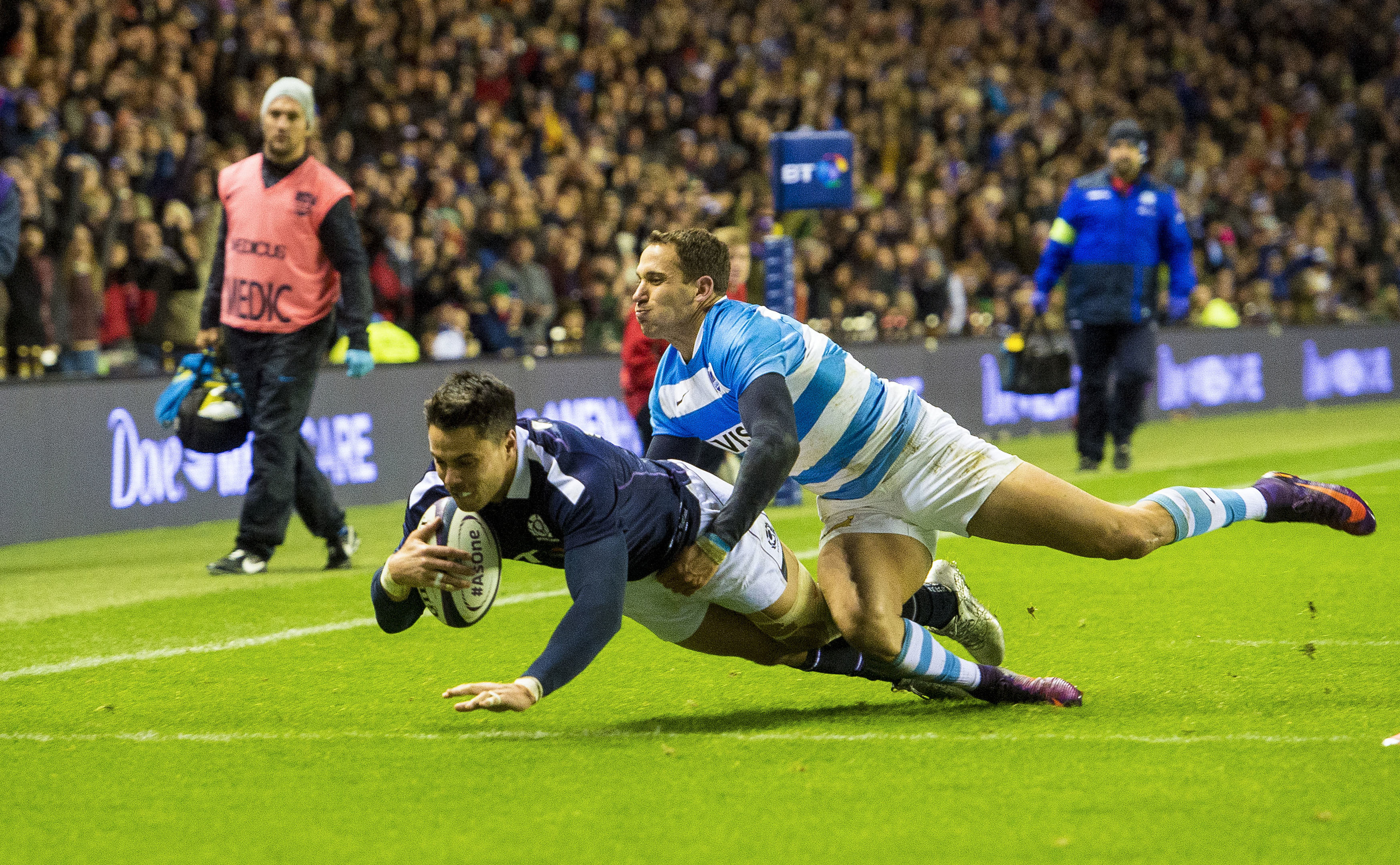 Sean Maitland scores Scotland's try against Argentina.