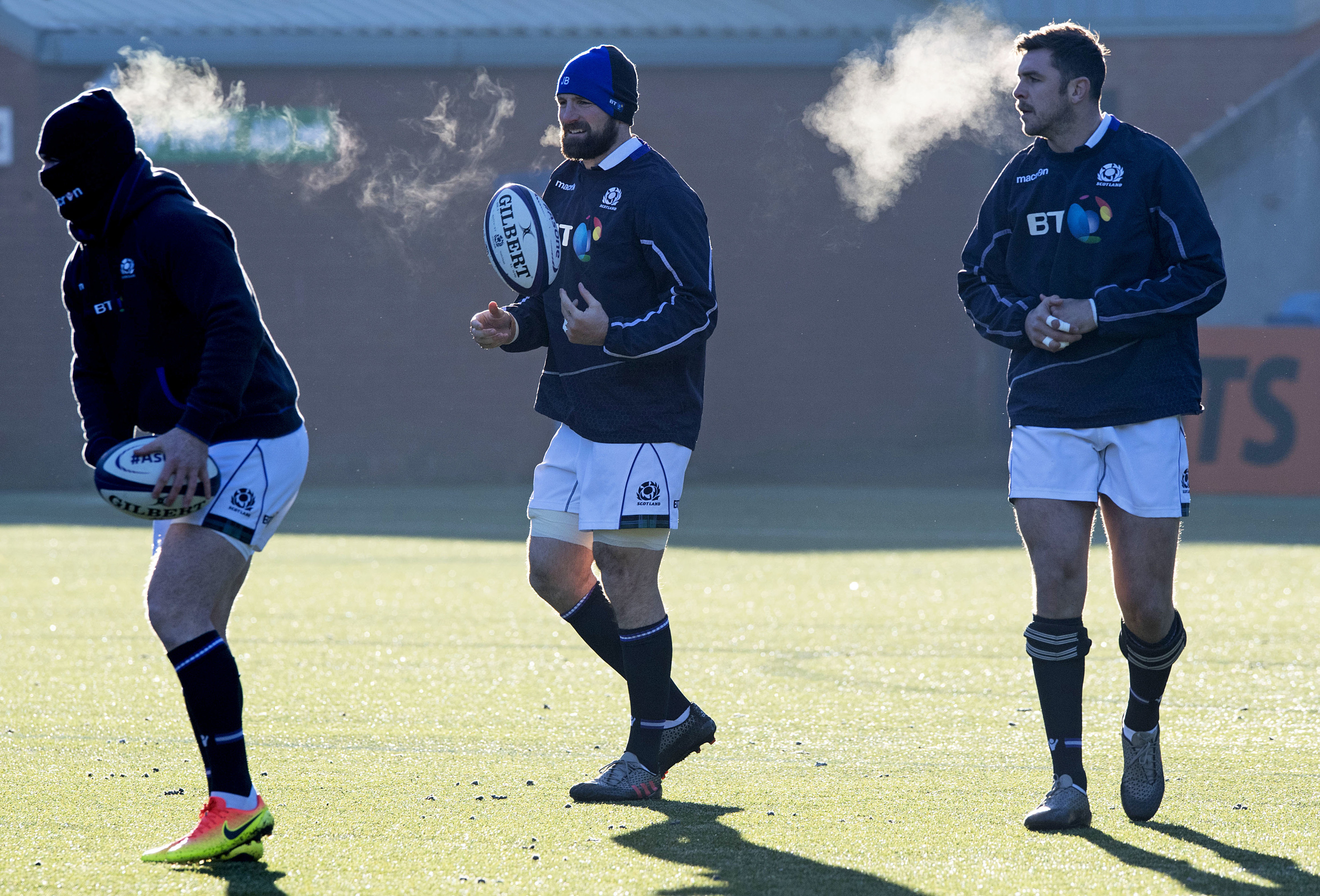 Stuart Hogg, John Barclay and Ryan Wilson brave the sub-zero temperatures at the captain's run at Rugby Park.