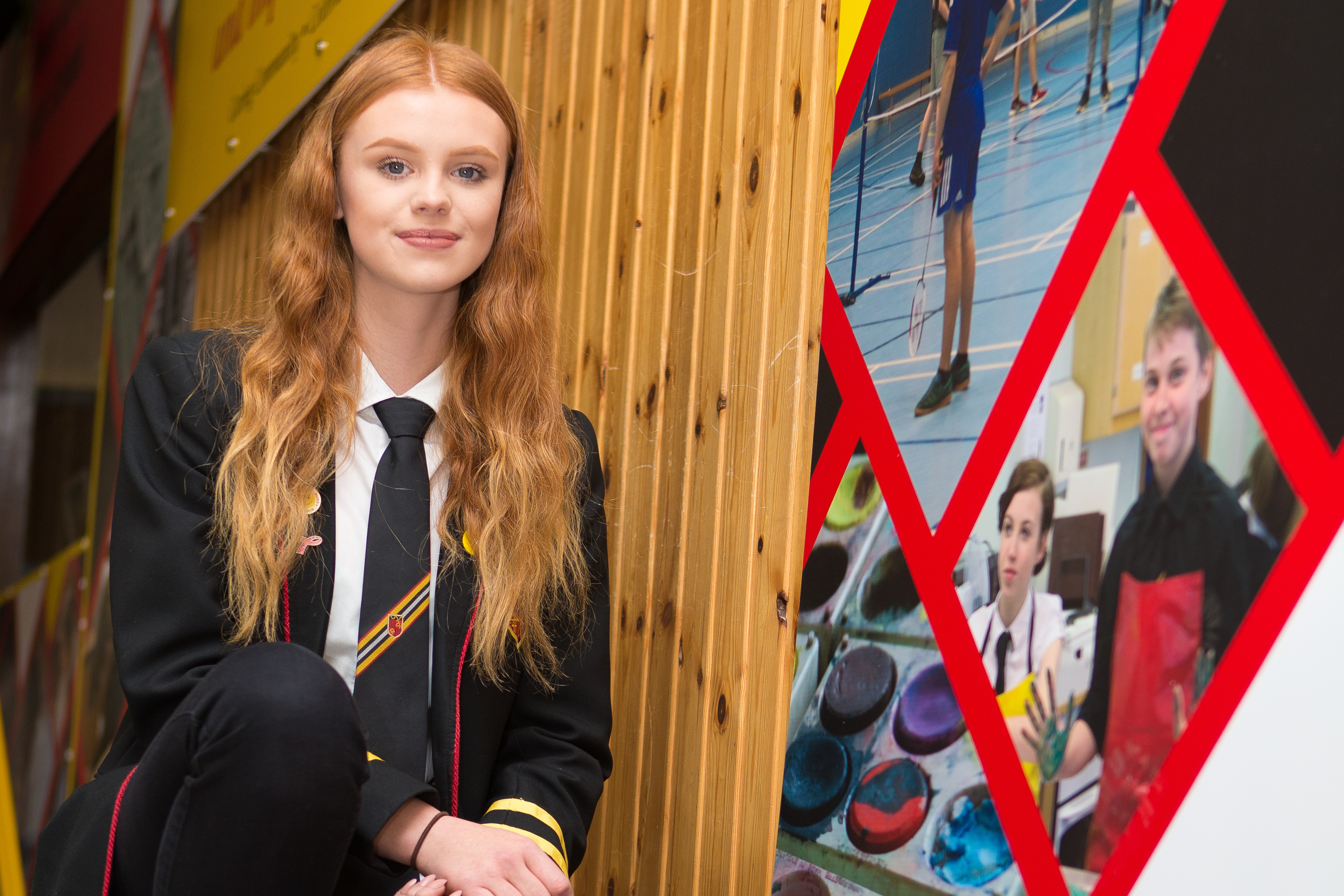 Olivia McKendrick-Brown at the artwork she created for Glenrothes High School 50th Anniversary.