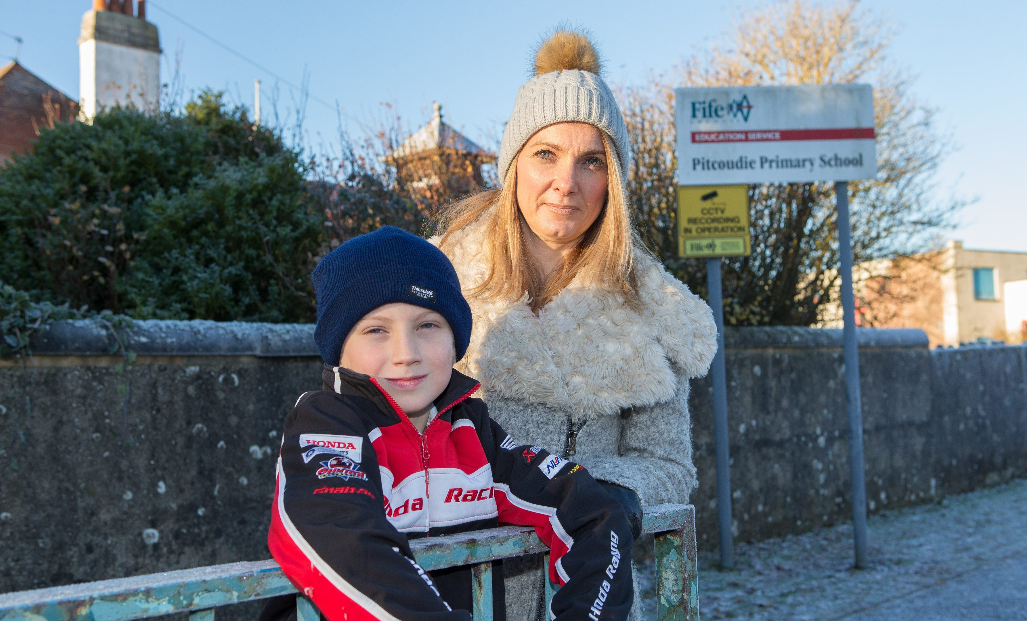 Alison McIntyre and her son Ronnie are among those concerned at recent incidents of vandalism and theft at Pitcoudie Primary.