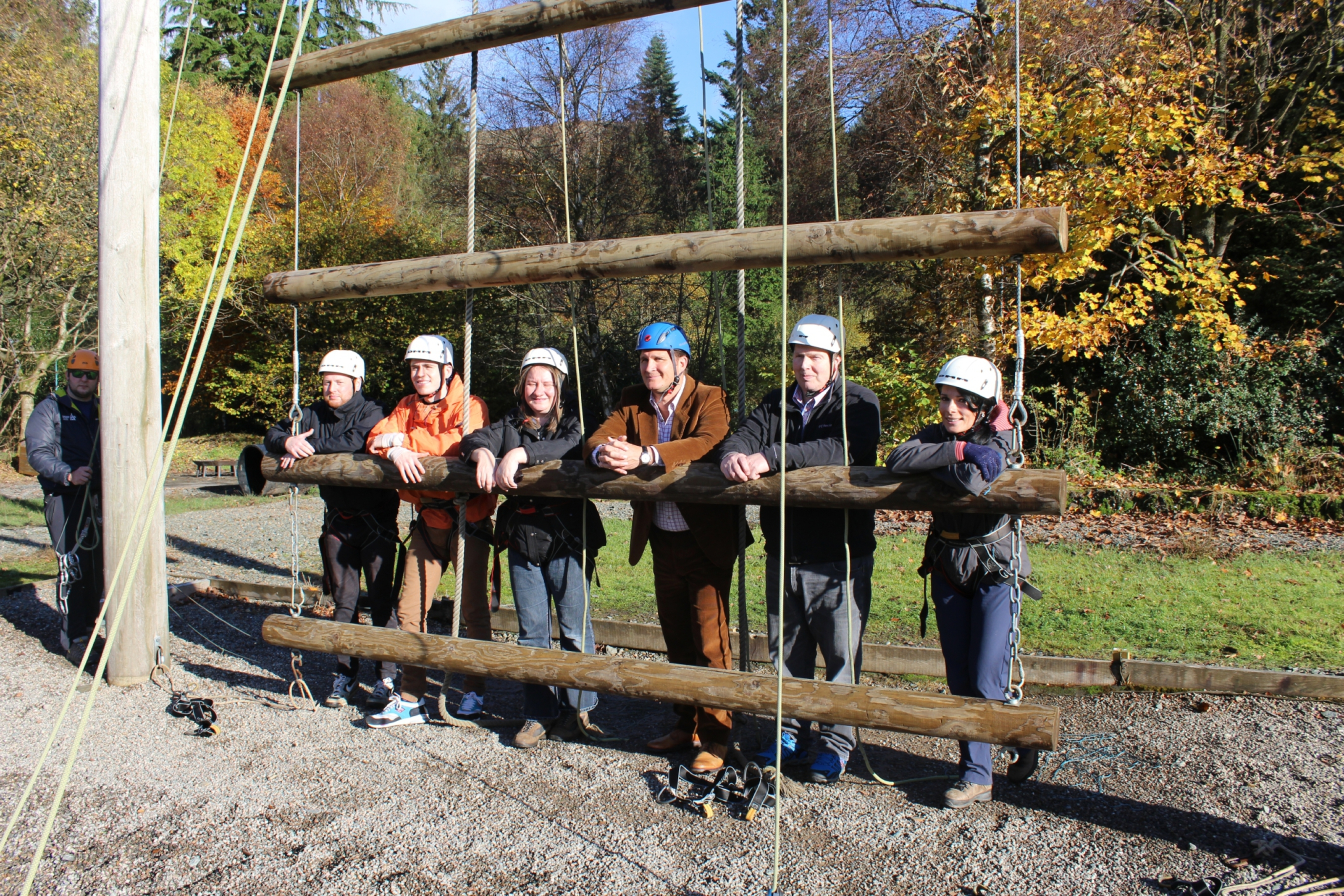 Gayle (far right) channels her inner Bear Grylls along with Scouts Scotland honorary president Chris Tiso (wearing blue helmet) and others.