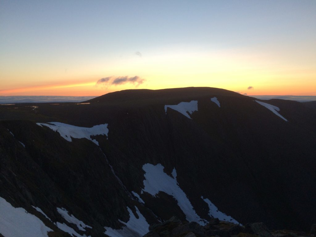 Sunrise over Braeriach in the Cairngorms.