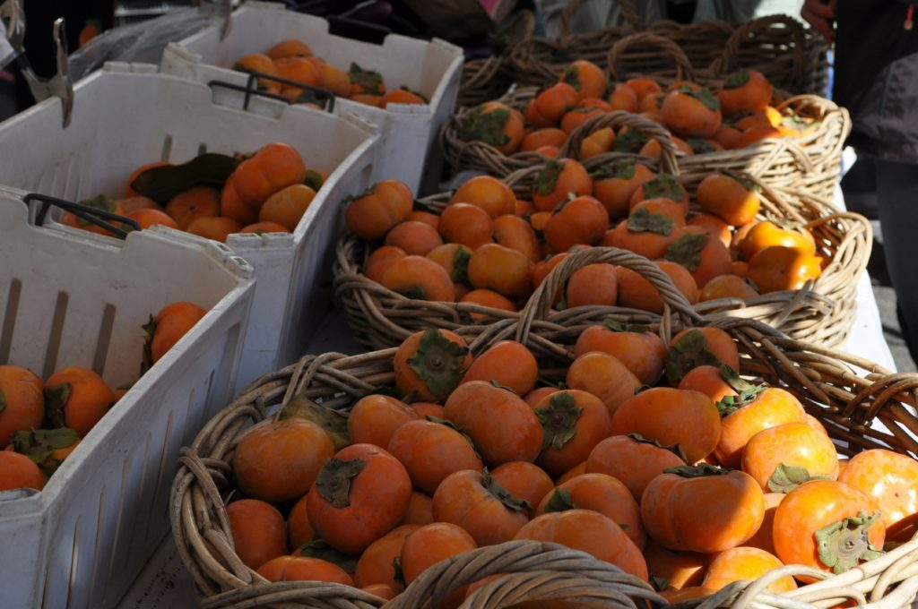 Persimmon in the farmer's market.