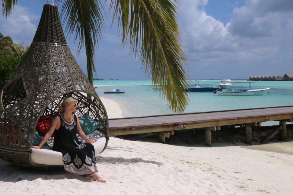 Karen relaxing on the beach.