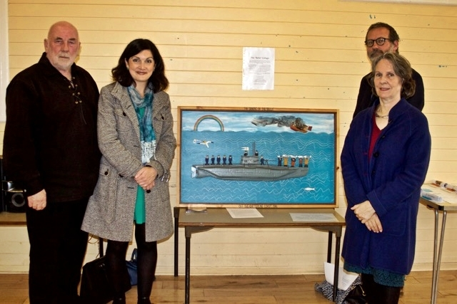 From left: Dave Ramsay, Gourdon PS head teacher Angela Wells Catterline artist Stuart Buchanan, and Viscountess Arbuthnott at the opening of the display of pupils' work in Kinneff Village Hall.