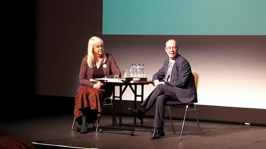 Broadcaster Lesley Riddoch on stage in Kirkcaldy with Local Government Minister Kevin Stewart