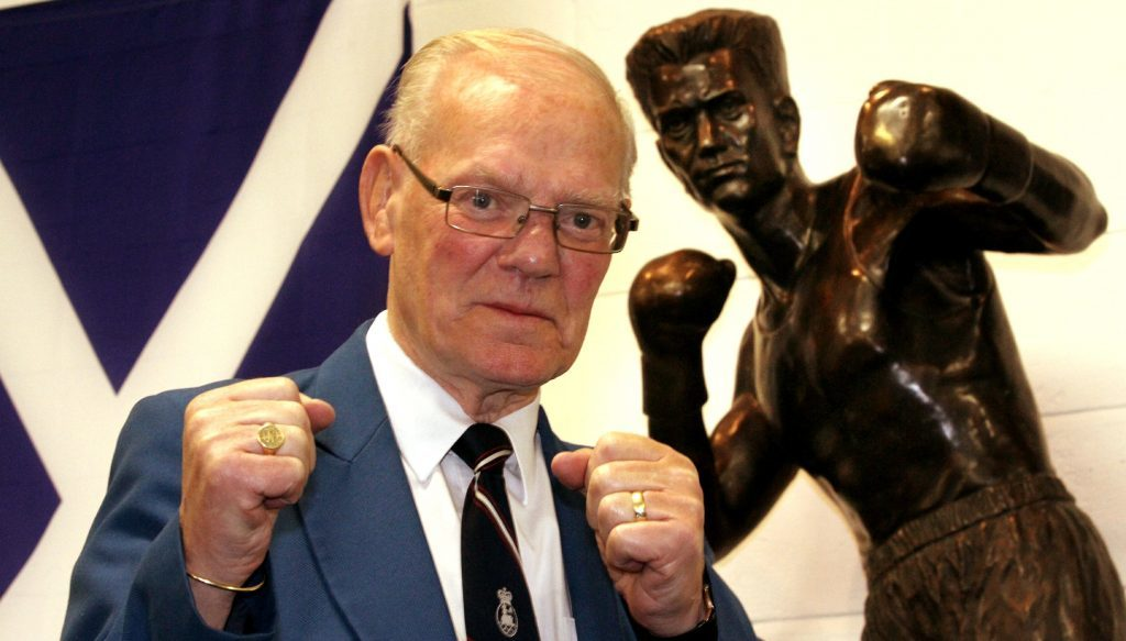 A statue of Dundee boxing legend Dick McTaggart stands at St Francis ABC Sporting Club in Dundee