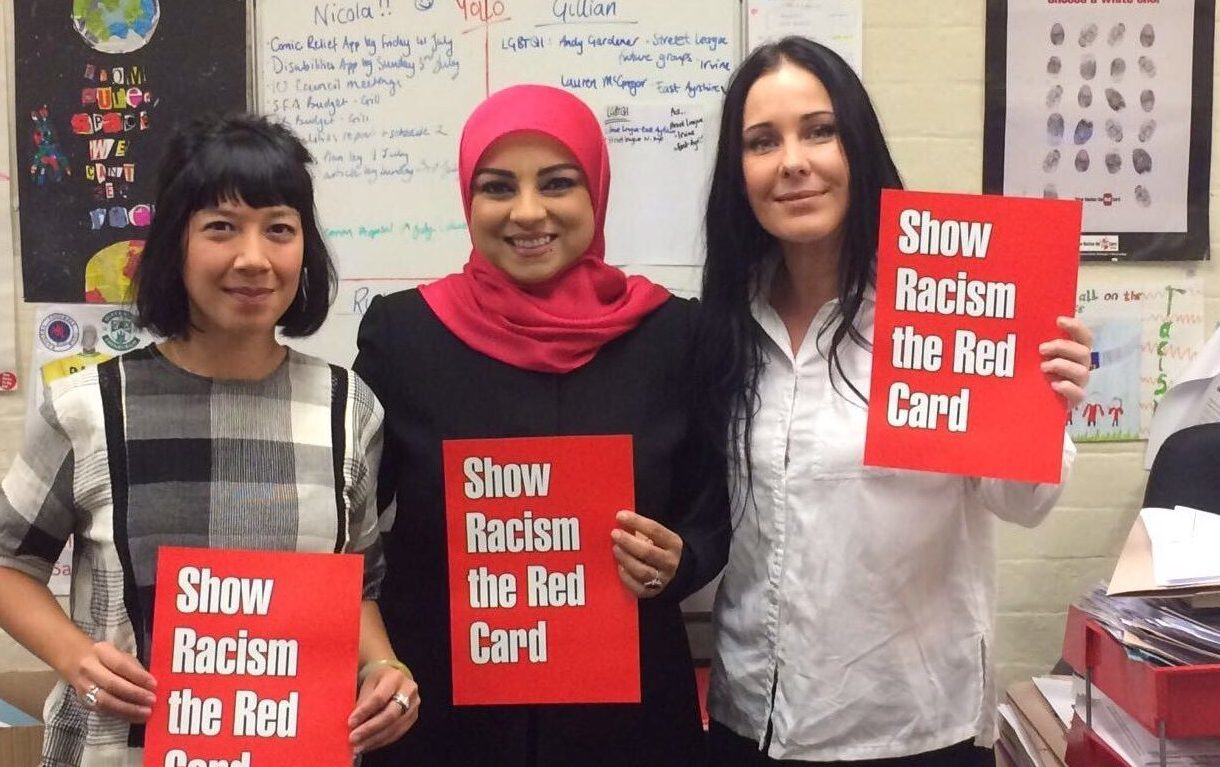 Gillian Eunson, left, and Nicola Hay from Show Racism the Red Card with Zeinab Saffar from Al Mayadeen News, centre.