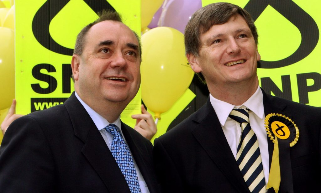 Then SNP leader Alex Salmond campaigning with candidate Peter Grant ahead of the 2008 by-election in Glenrothes. Critics say the party spent more on that single poll than in fighting for a Remain vote in the EU referendum.