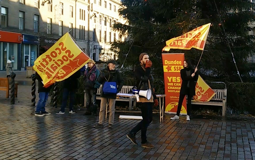 Scottish Socialist Party protestors assemble outside Dundee Overgate