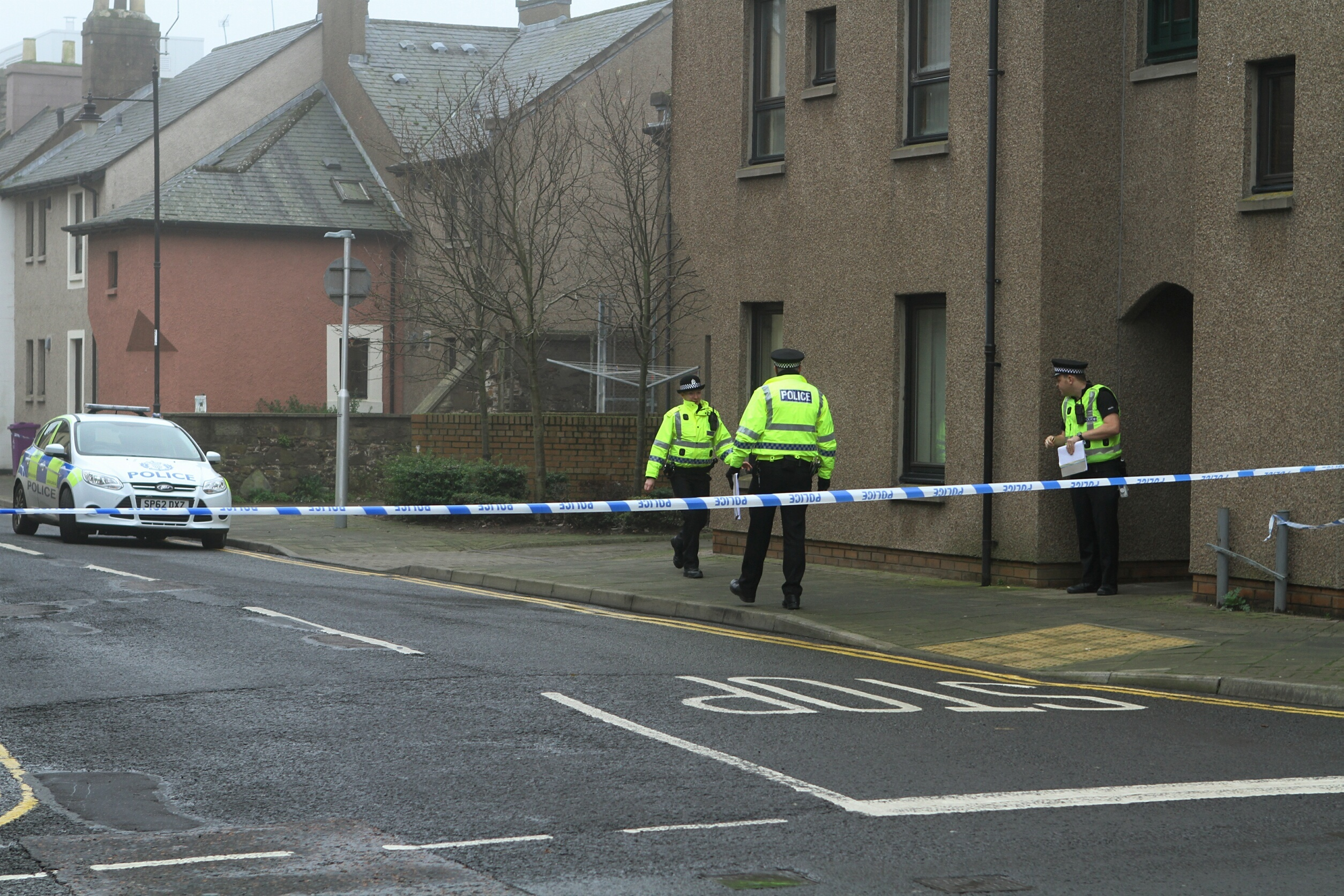 Police activity in the Market Street/John Street area of Montrose where Ms McKenzie is said to have died