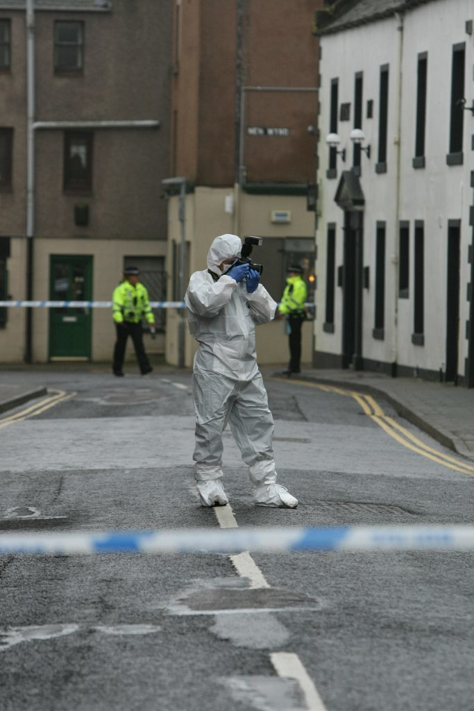 The murder inquiry focussed on the Market Street/John Street area of Montrose