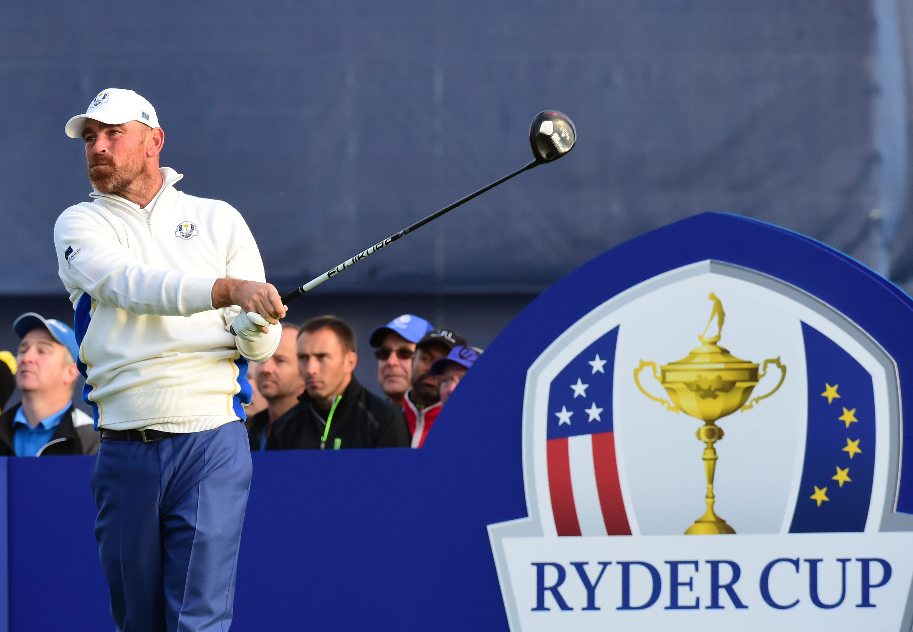 Denmark's Thomas Bjorn in Ryder Cup action as a player.