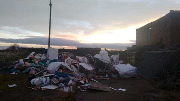 The rubbish that was gathered at Luthermuir before being set on fire.