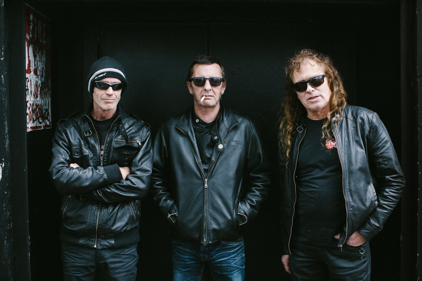Phil Rudd (centre) with Allan Badger and Geoffrey Martin.