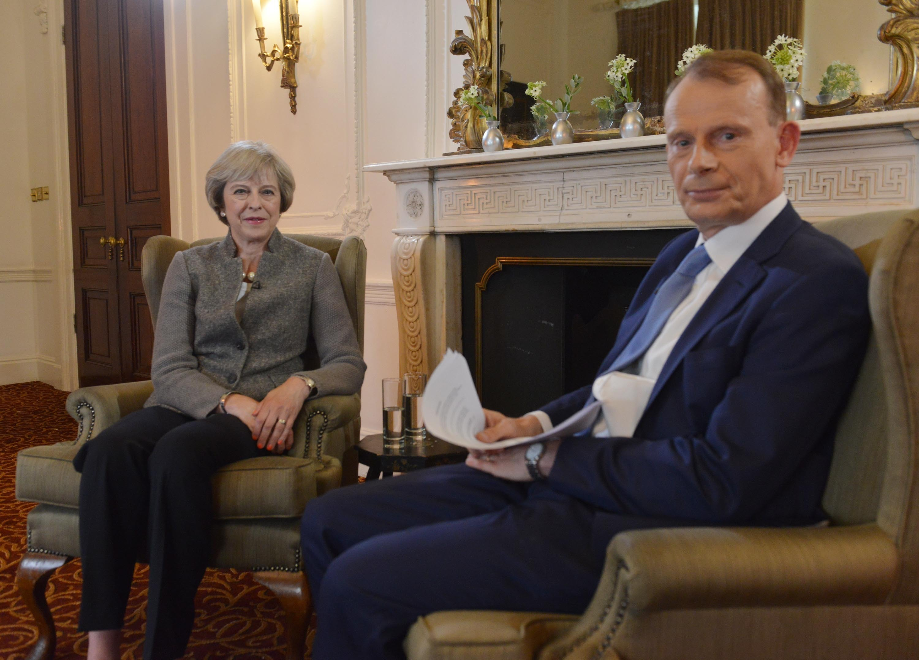 Prime Minister Theresa May taking part in an interview with Andrew Marr for The Andrew Marr Show.