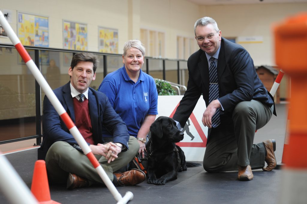 Alex Johnstone promoting the work of the Guide Dogs for the Blind training centre in Forfar in February.