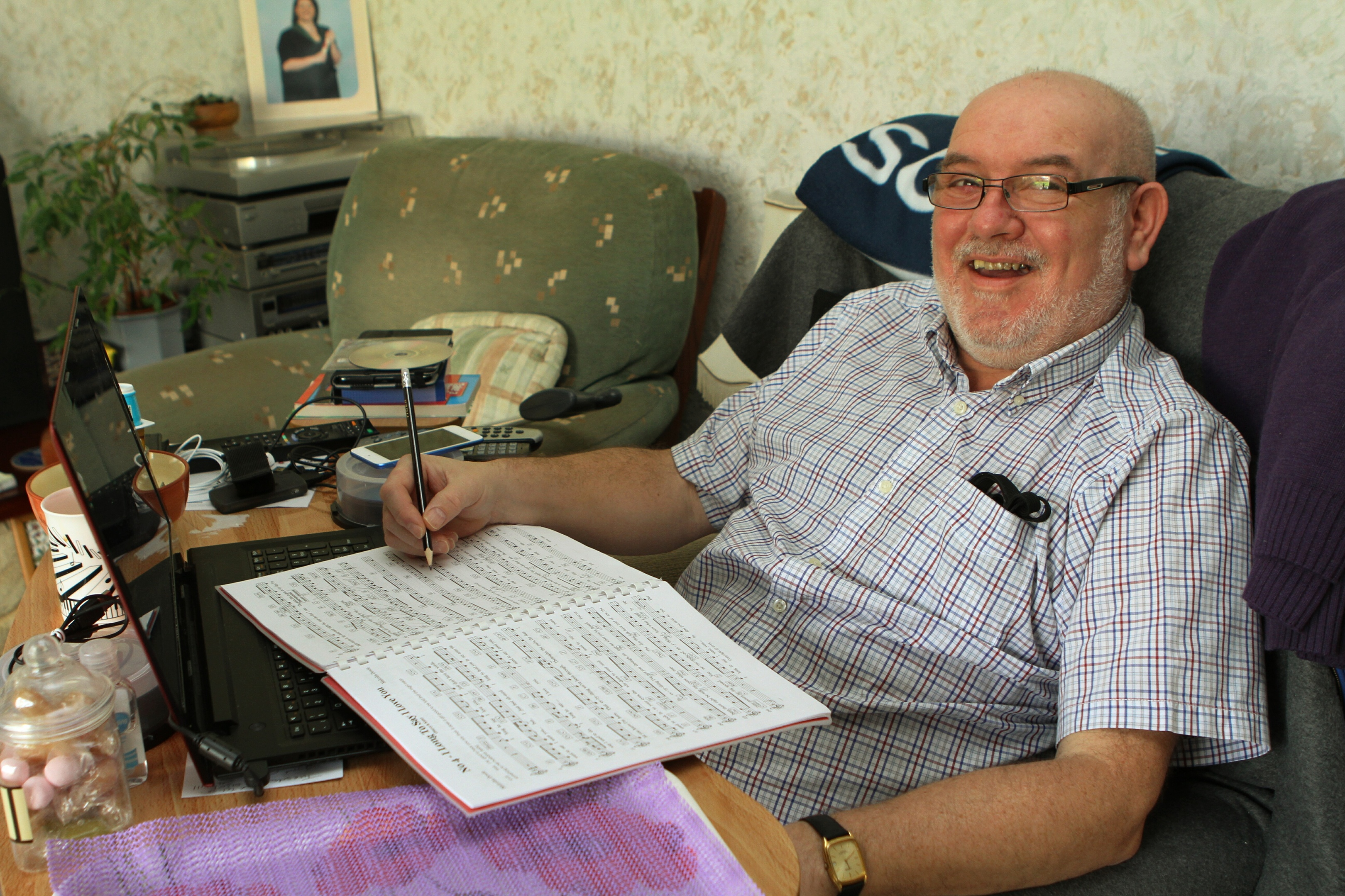 Mr Dowie working on a score at his Monifieth home.