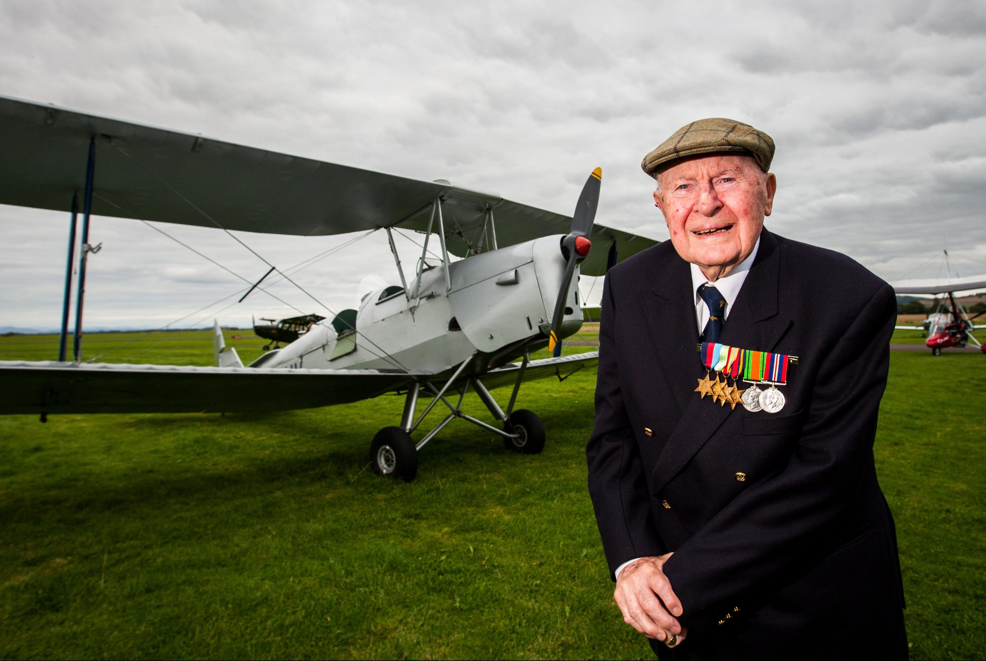 John Moffat at Perth airport last year before he took to the skies.