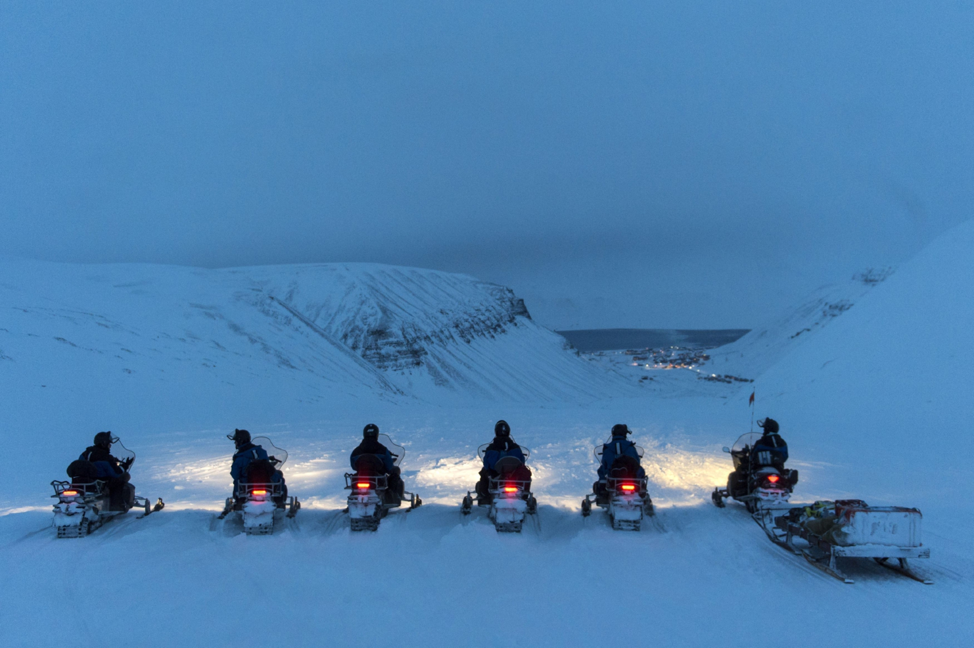 The snowmobile safari across the artic desert.