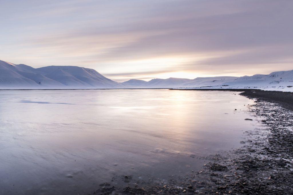 Longyearbyen coastline in Svalbard.