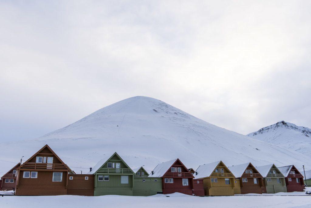 Traditional houses in Longyearbyen, Svalbard.