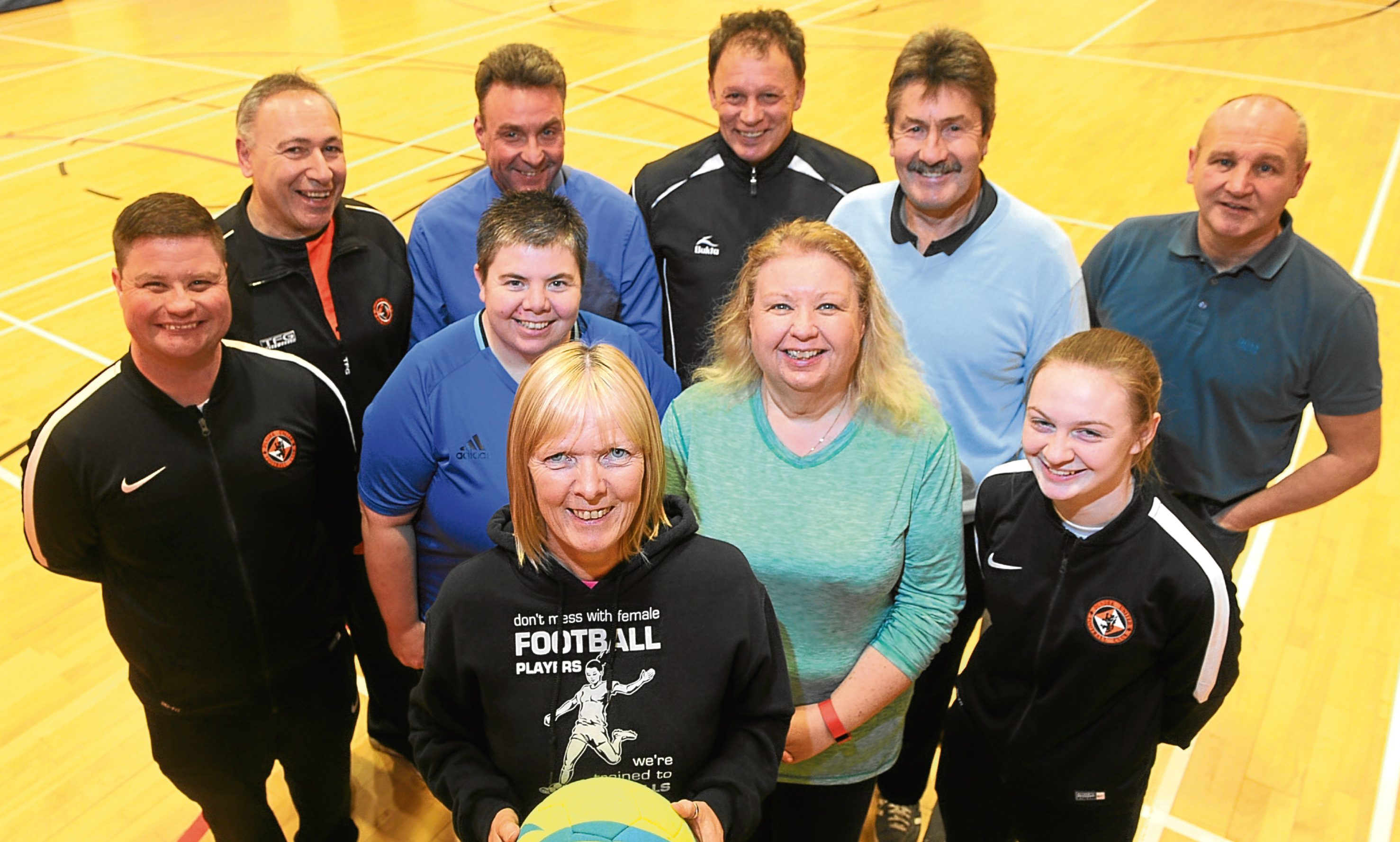 Back l to r - Jamie Kirk (Utd4All community trust manager), Mike Barile, Colin Stewart, John Holt, Hamish McAlpine and John Reilly. Front - Laura Sim, Margaret Symington, Susan Clelland and Lauren Dickson (Utd4All project assistant).
