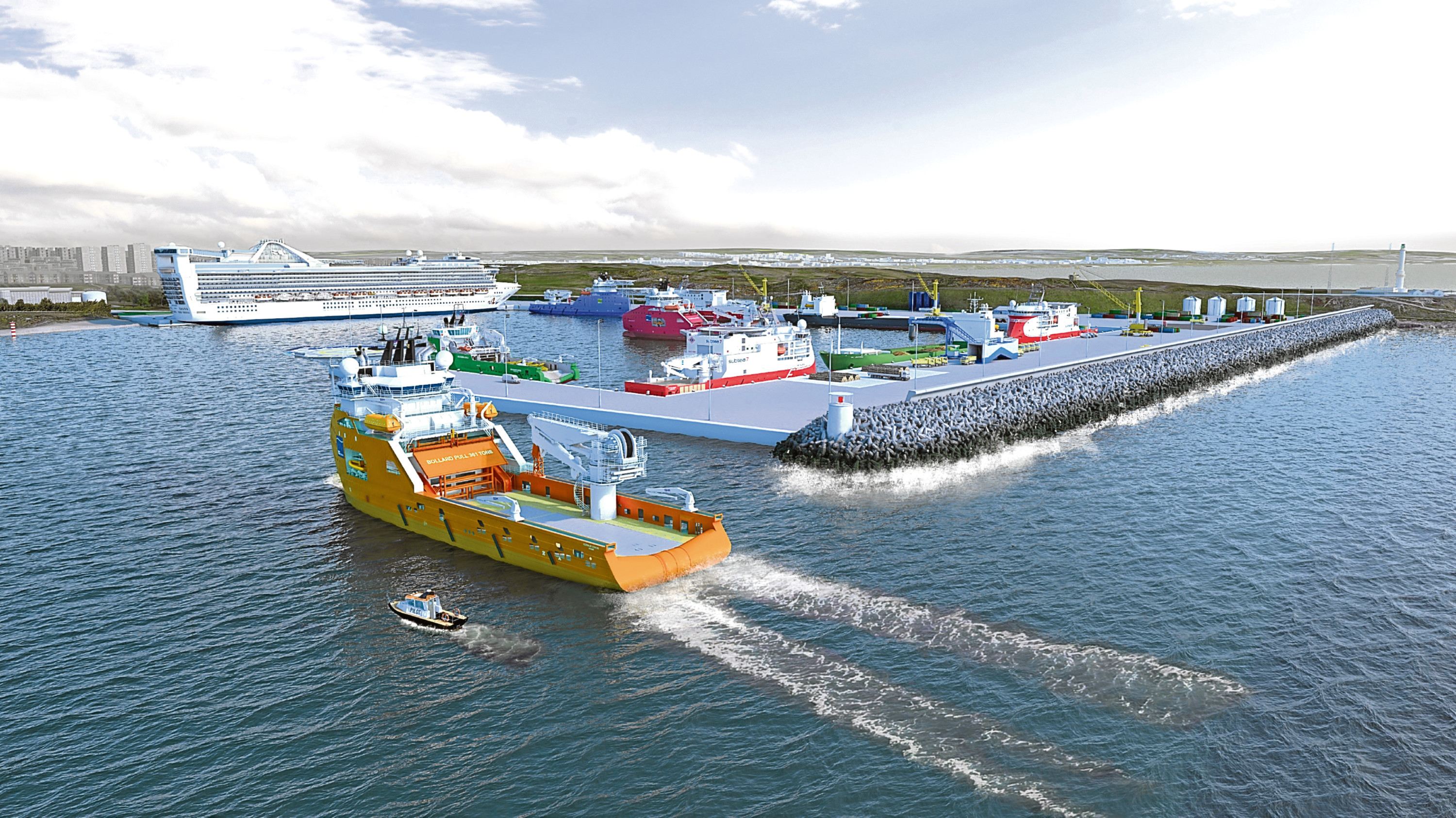 Artist's impressions of how the £350m Nigg Bay extension of Aberdeen Harbour could look when it is completed in 2020.
