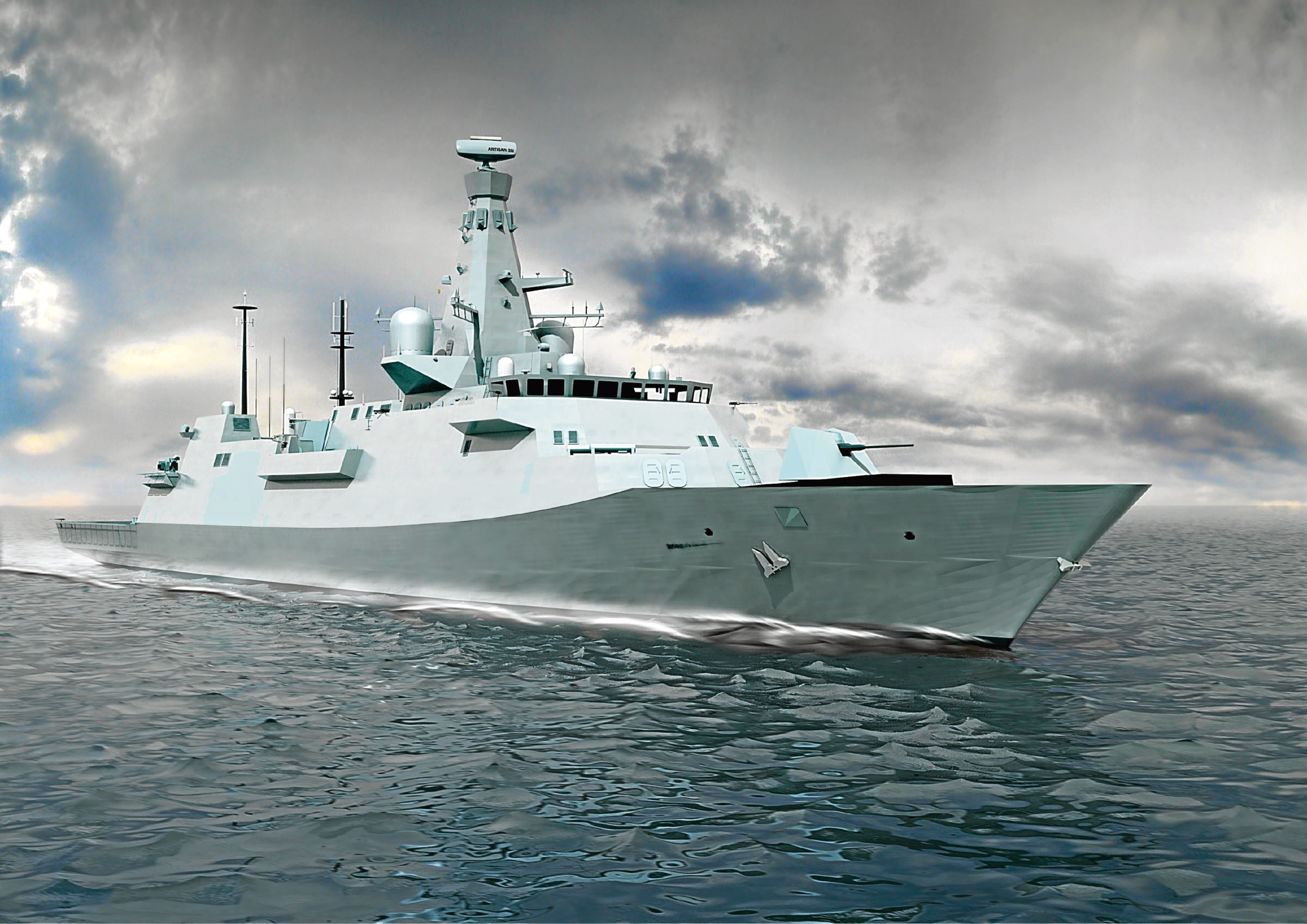 An exterior shot of the latest design for the Type 26 Global Combat Ship