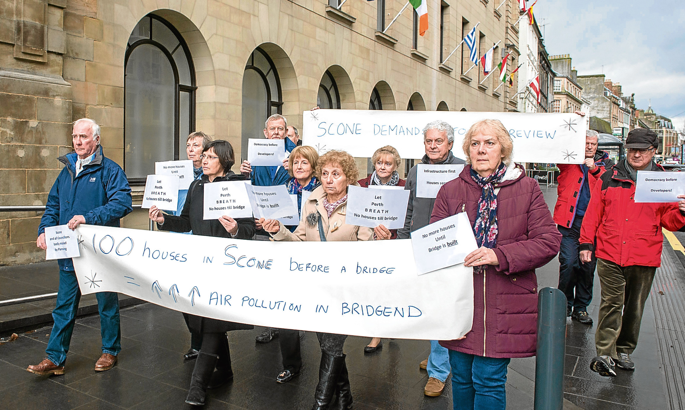 Scone residents protest about the housing proposal outside Perth and Kinross Council offices.