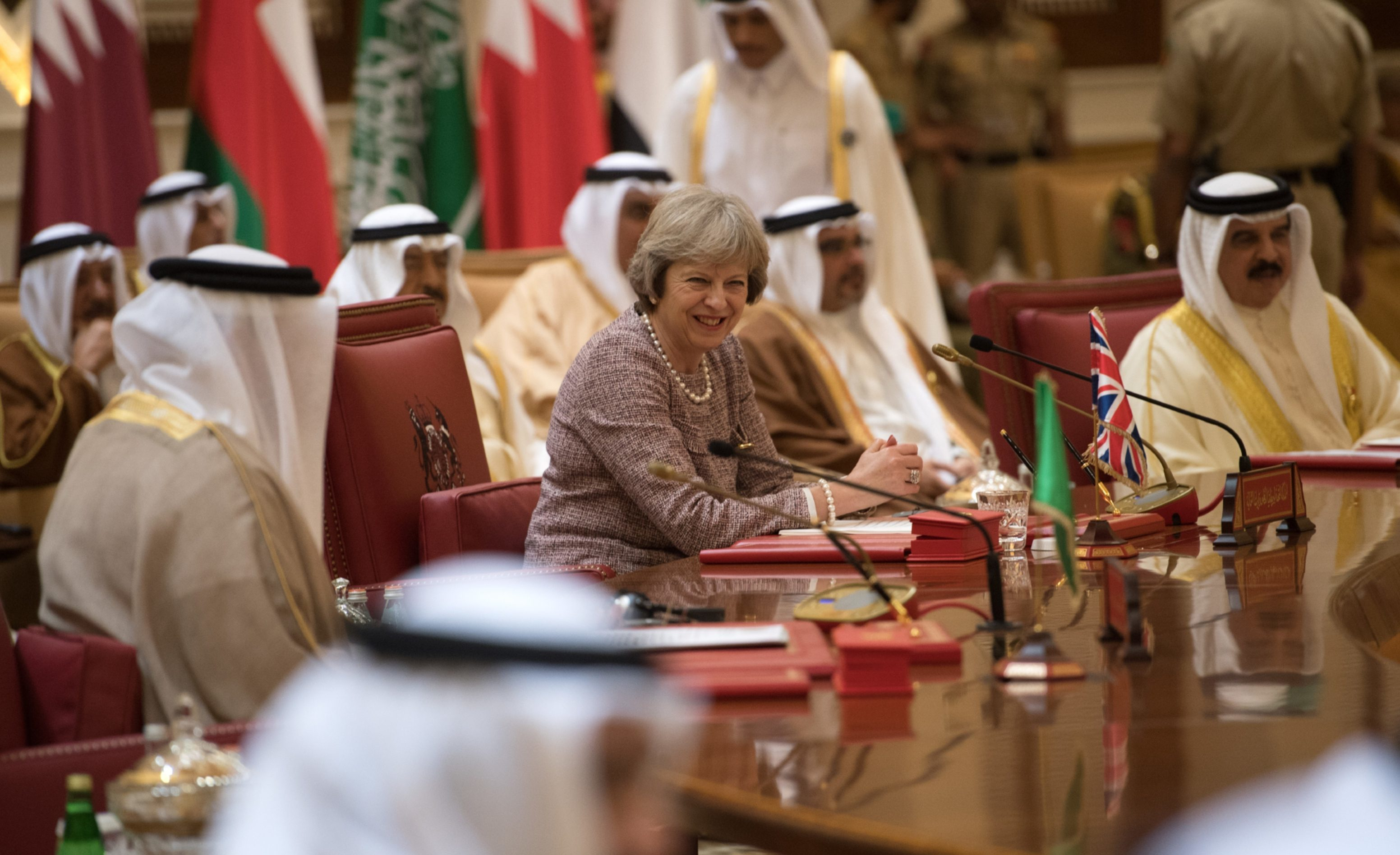 Theresa May at the Gulf Co-operation Council summit in Bahrain.