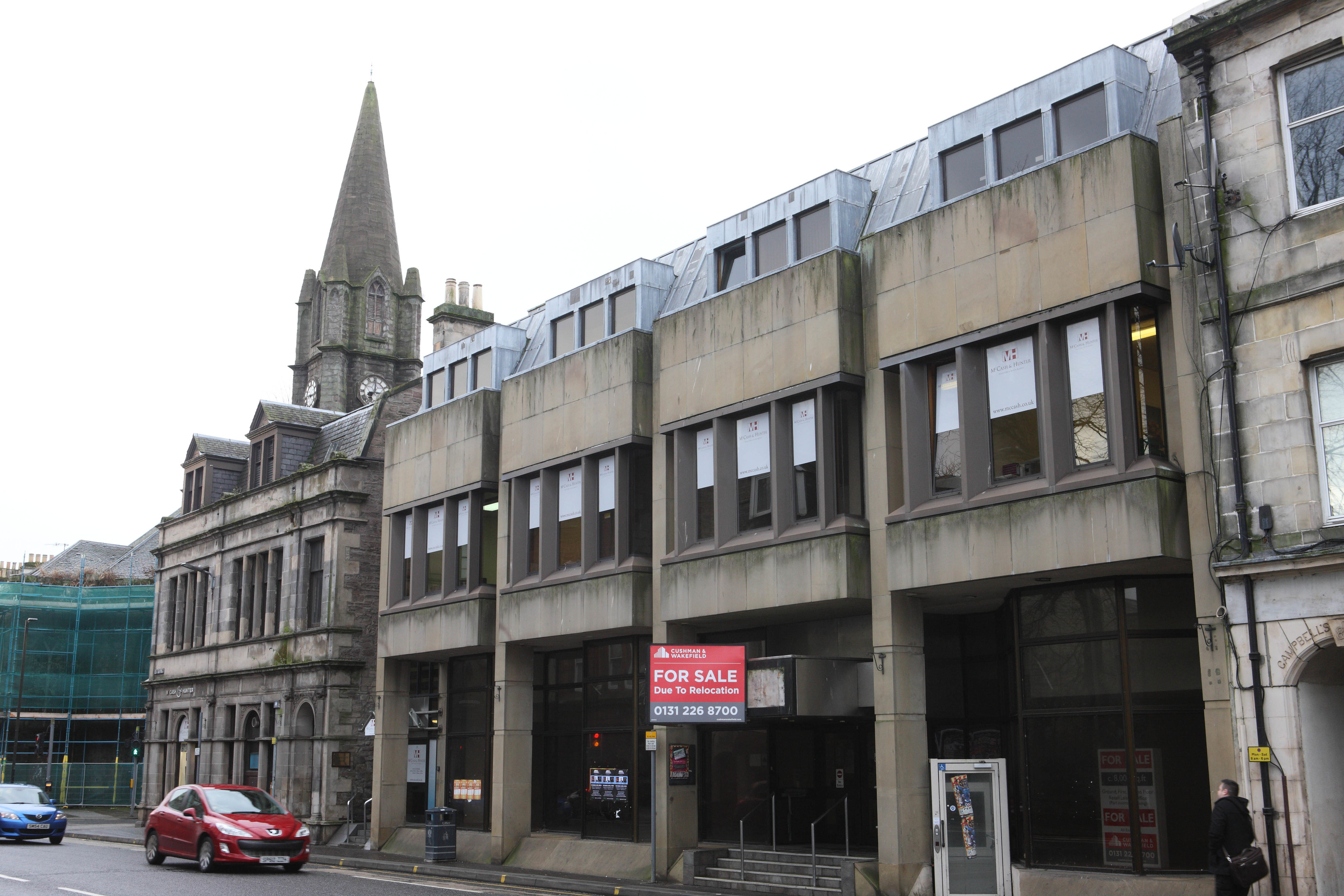 St Paul's Church with the now empty bank premises on South Methven Street, Perth.