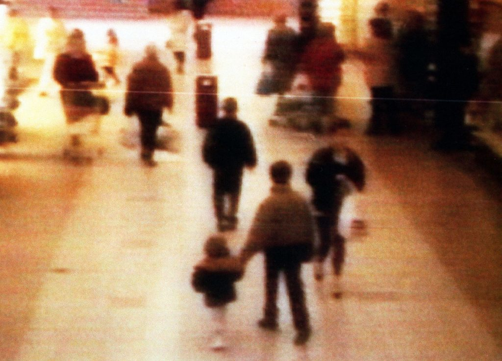 A surveillance camera shows the abduction of two-year-old James Bulger from the Bootle Strand shopping mall on February 12 1993.