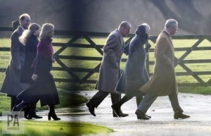 Senior members of the Royal Family arriving at St Mary Magdalene Church on Sandringham Estate.