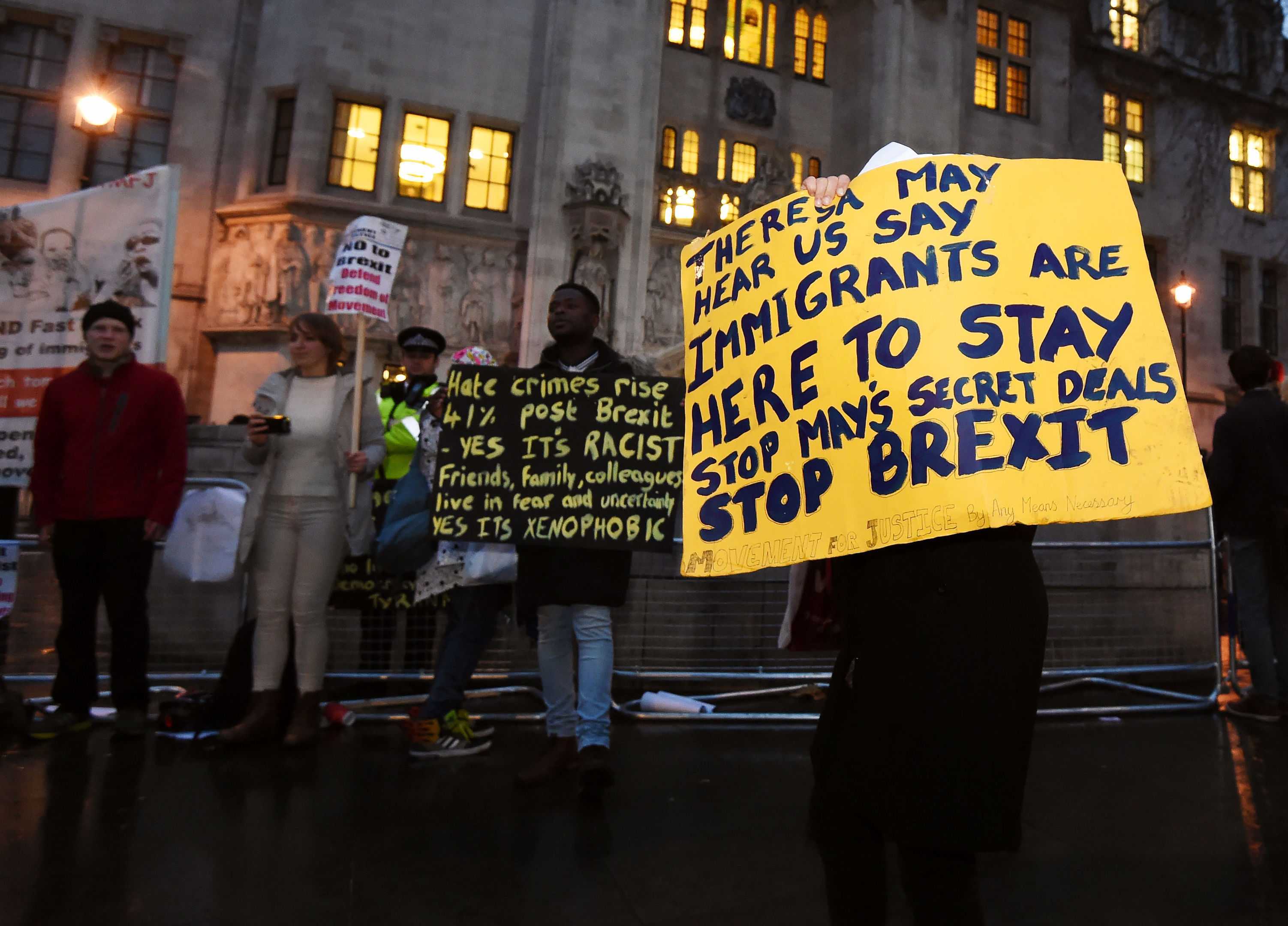 Anti-Brexit protesters outside the Supreme Court in Westminster.