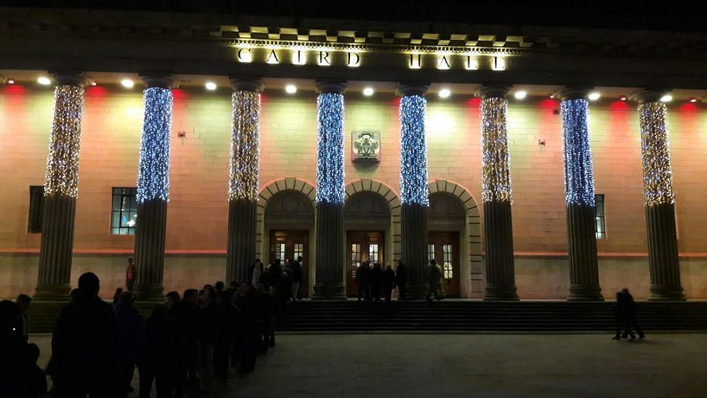 Soldiers, families and guests streaming into the Caird Hall, Dundee, at the start of the night