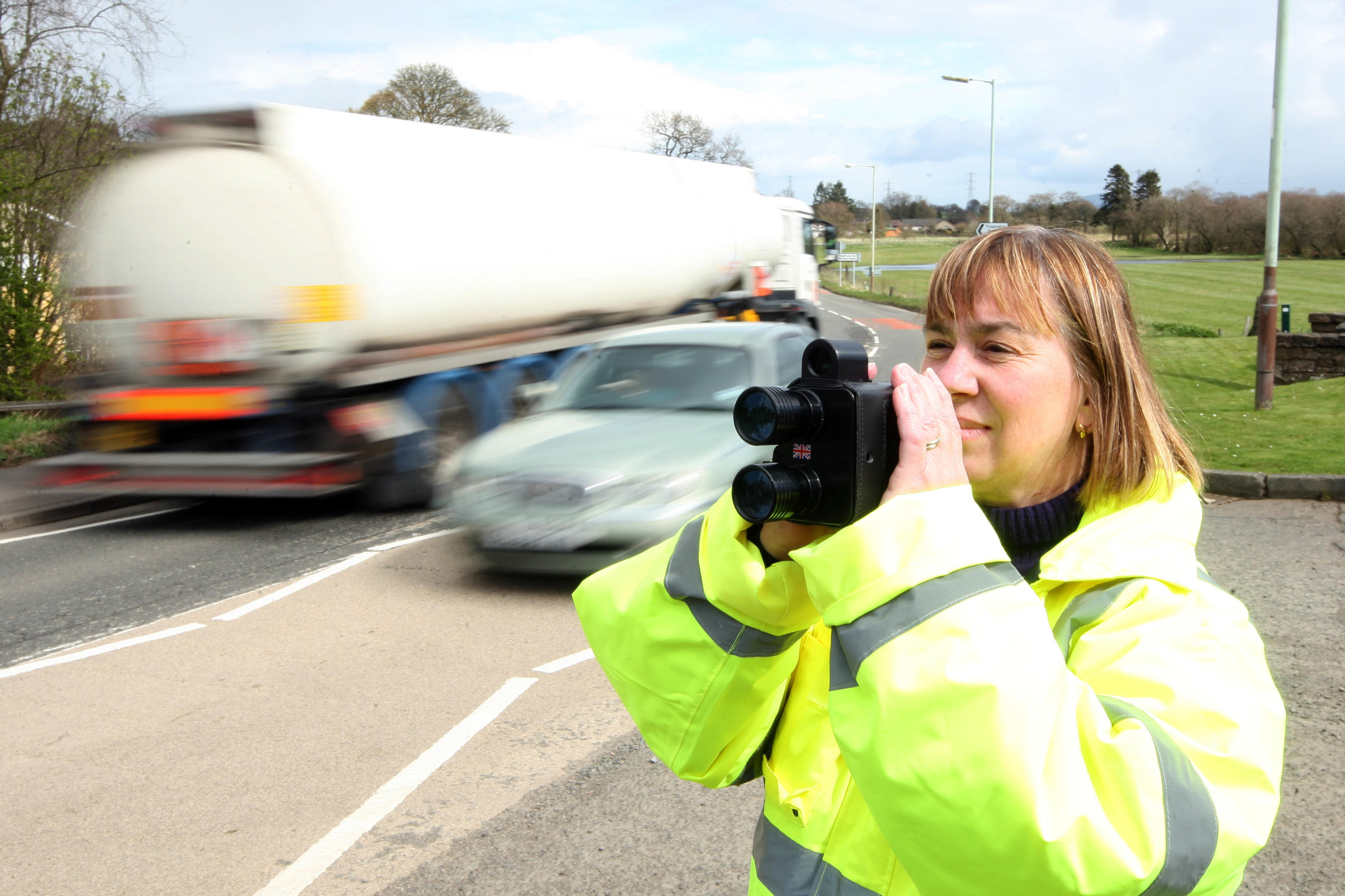 Community Speed Watch volunteer Trudy Duffy-Wigman keeps an eye on speeding motorists during a previous trial in Kinross-shire.