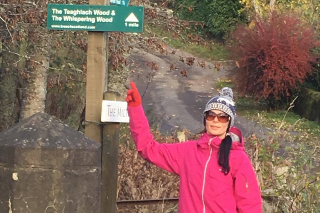 Gayle checks out one of the many walks around Comrie.