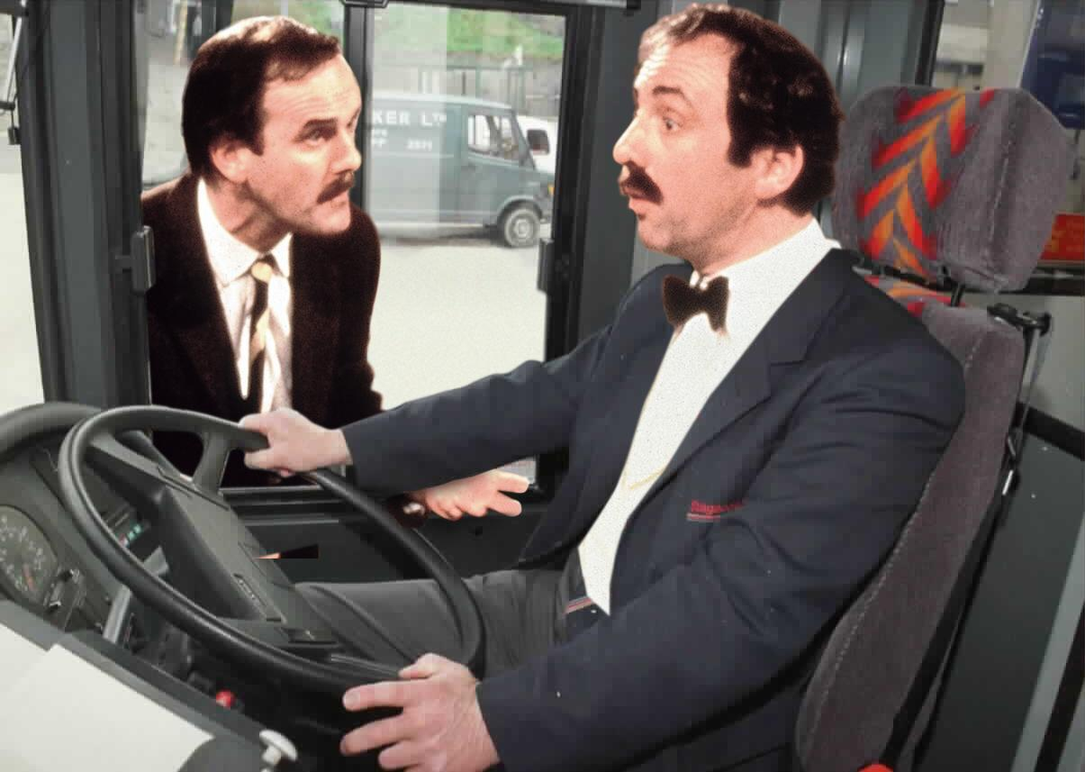 John Cleese (as Basil) and Andrew Sachs (as Manuel) in Fawlty Towers