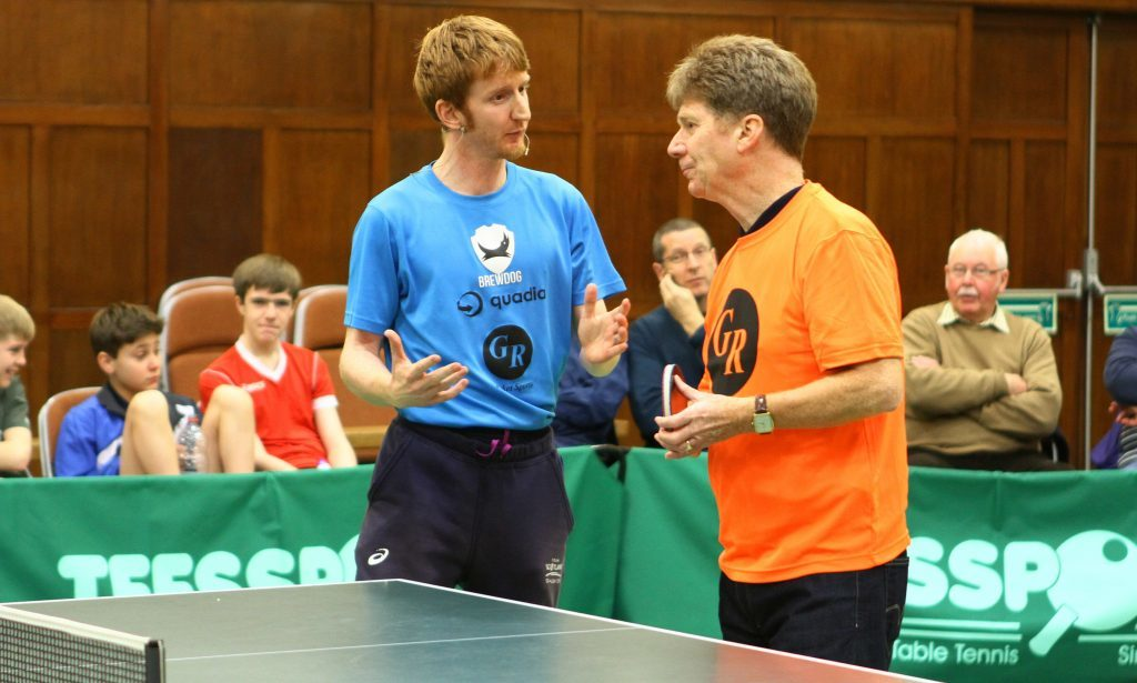 Jim Spence receiving some tuition from Gavin Rumgay.
